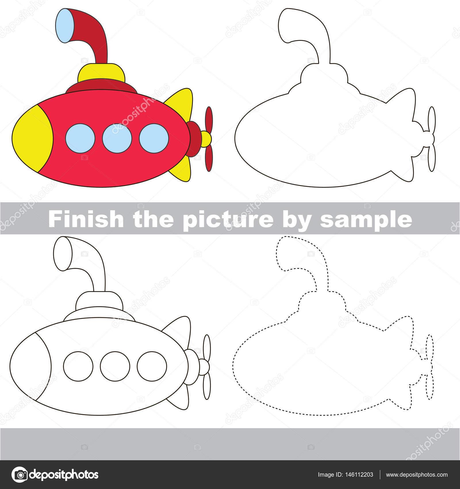 Zeichnung-Arbeitsblatt für Spielzeug Transport — Stockvektor ...