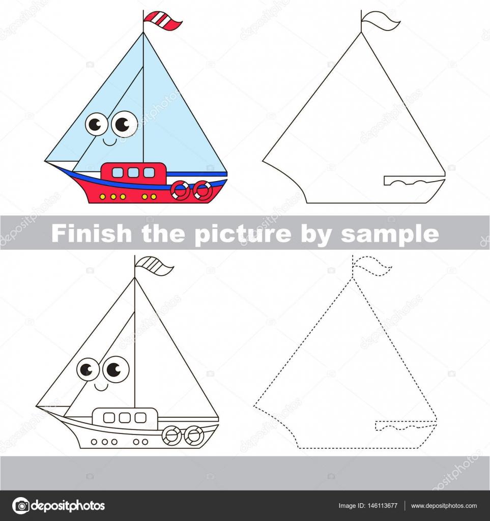 Tekne çekme çalışma Sayfası Stok Vektör Annamikhailova 146113677
