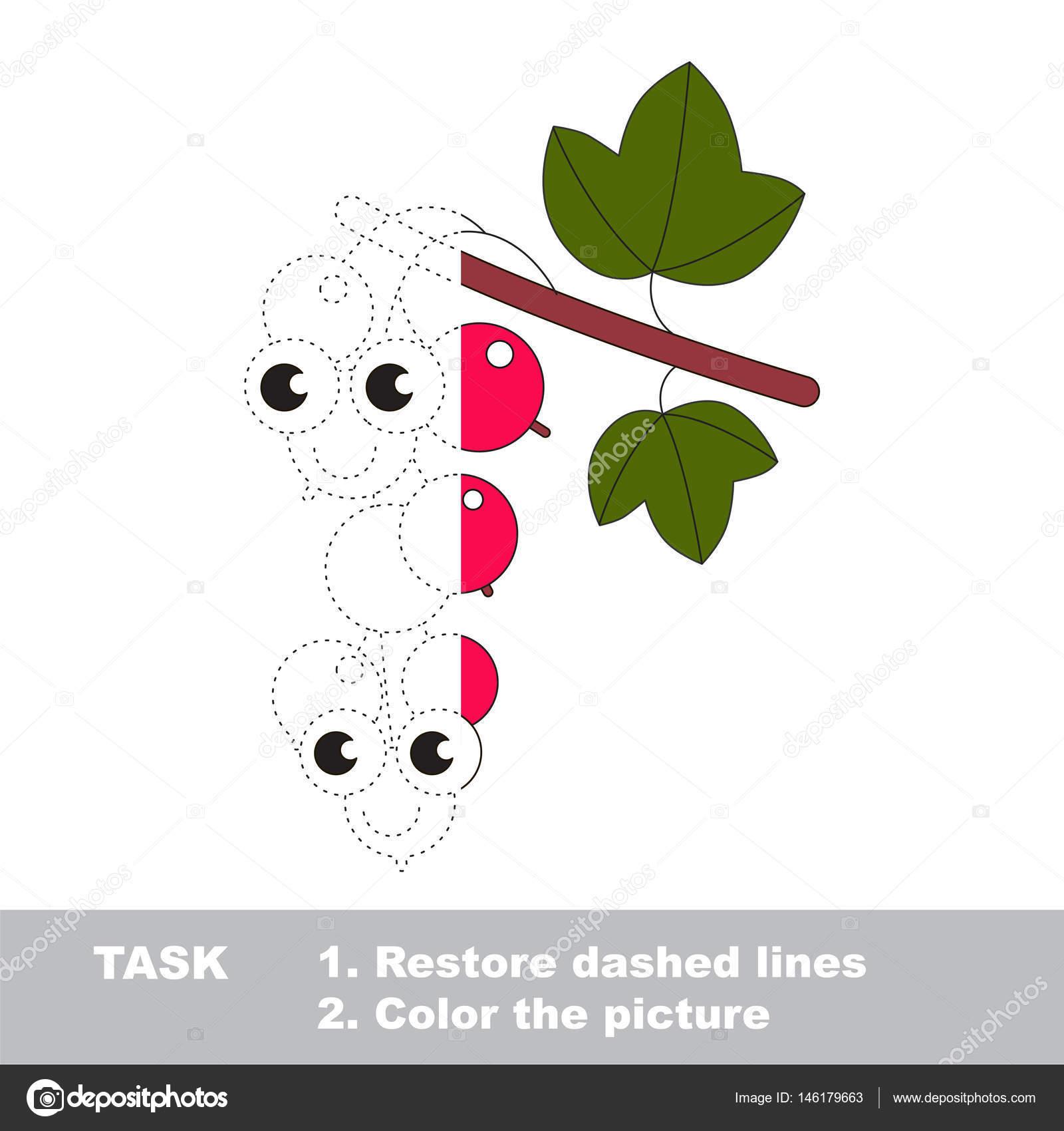 Rote Johannisbeere, gefärbt zu werden. Vektor-Trace-Spiel ...