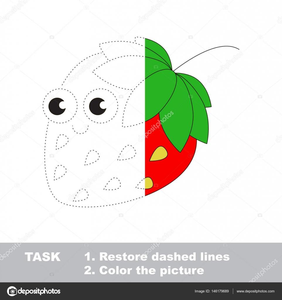 Fresa Para Colorear Juego De Rastreo Vector Archivo Imágenes