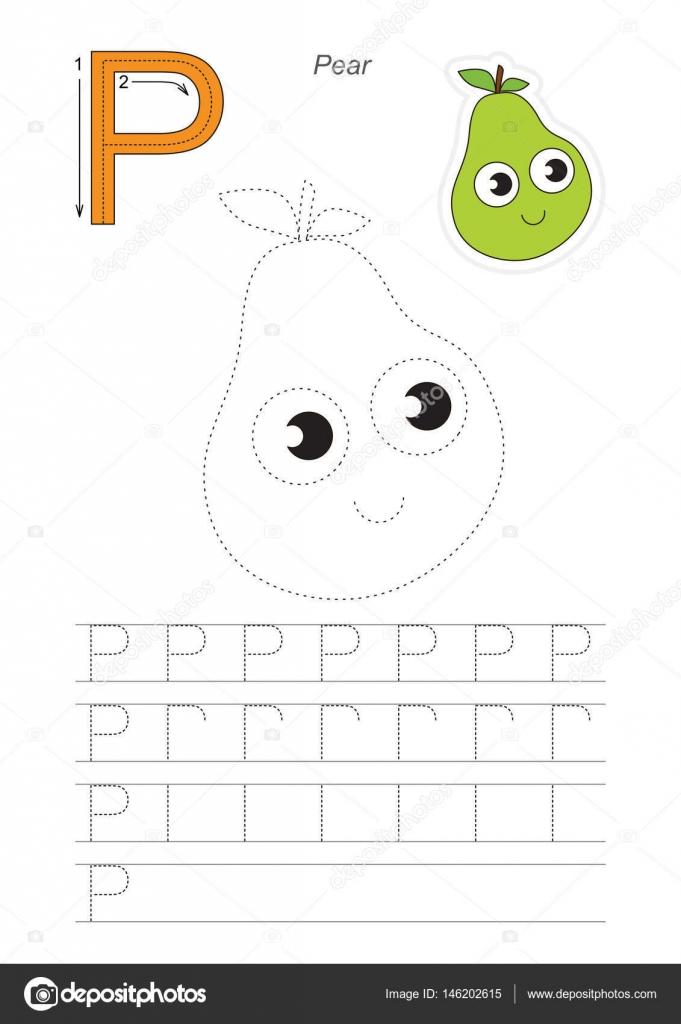 Ablaufverfolgung für Brief P. Pear Spiel — Stockvektor ...