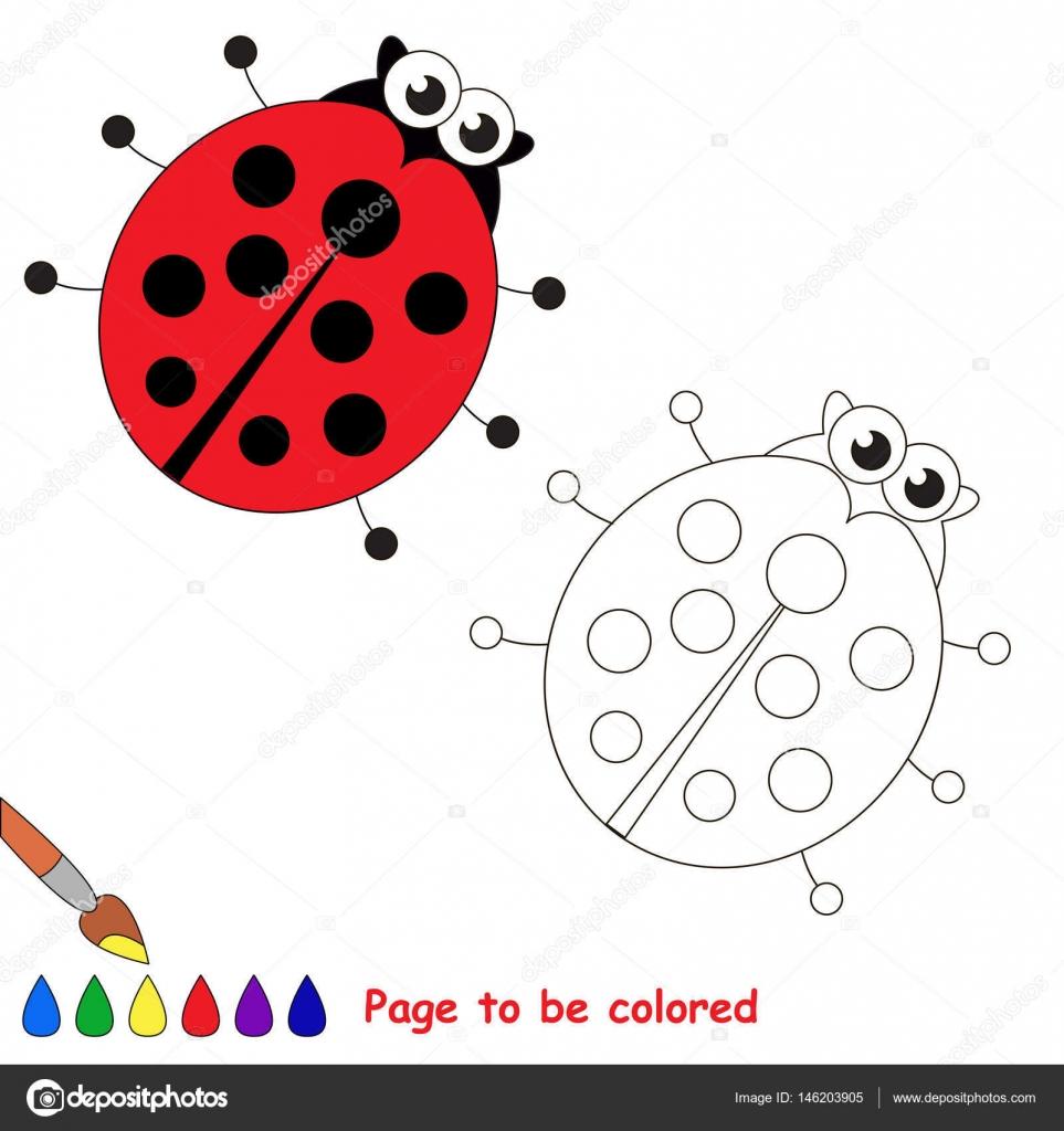 Fumetto Di Coccinella Pagina Da Colorare Vettoriali Stock