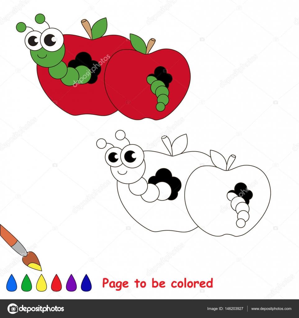 Rojo manzana y gusano de dibujos animados. Página para colorear ...
