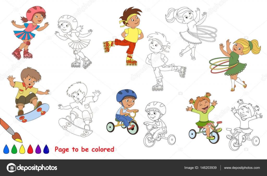 Imágenes: niños en deporte para colorear | Verano niño deportes ...