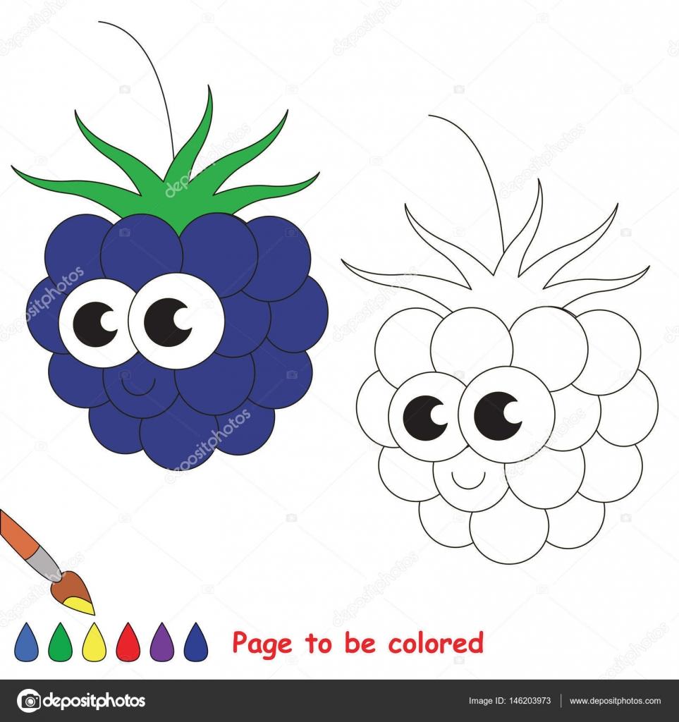 Dibujos animados lindo blackberry. Página para colorear — Archivo ...