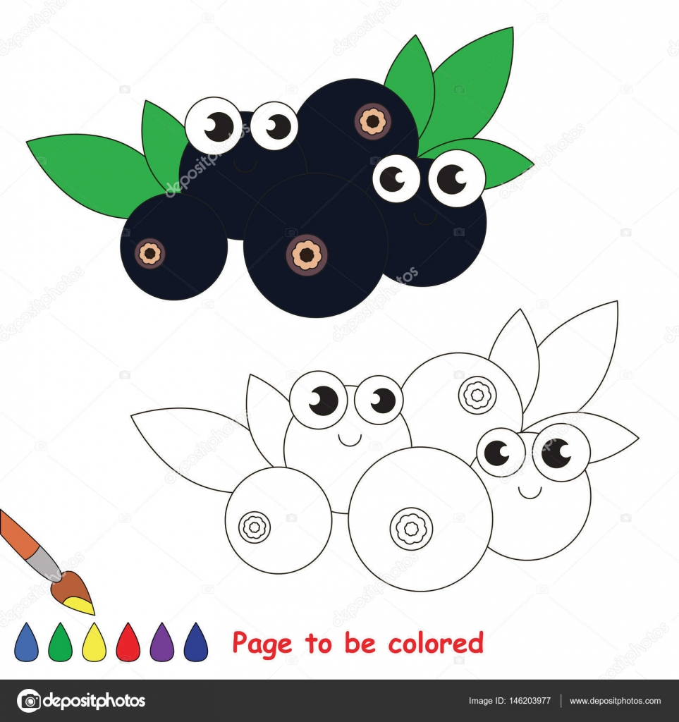 Dibujos animados de arándano dulce. Página para colorear — Archivo ...