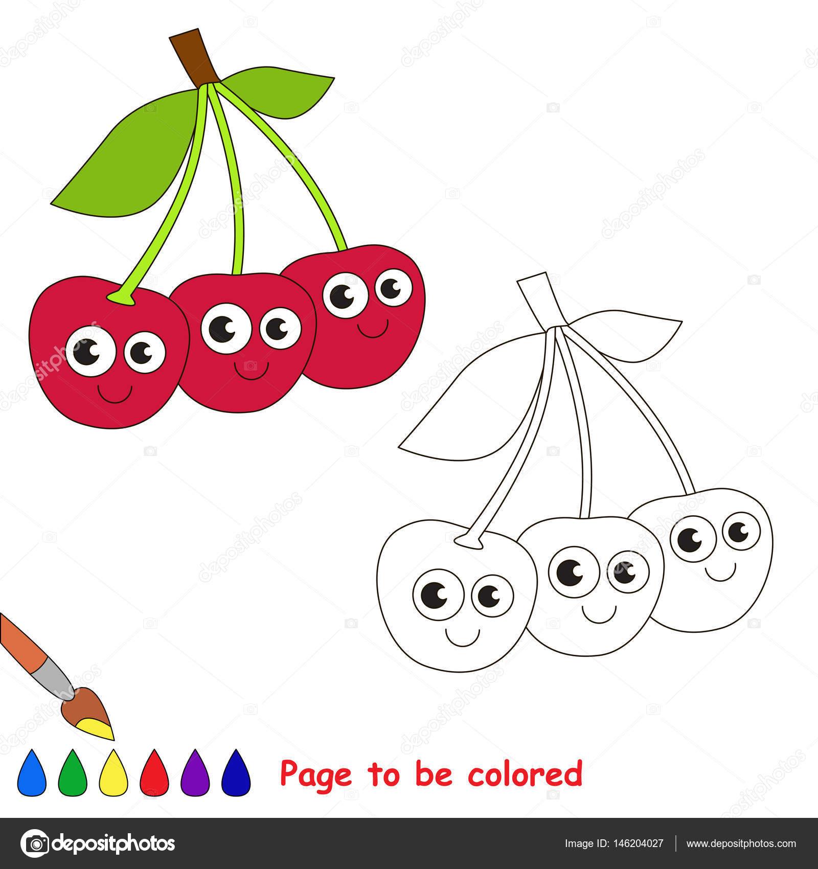 üç Sevimli Kiraz Karikatür Renkli Sayfa Stok Vektör