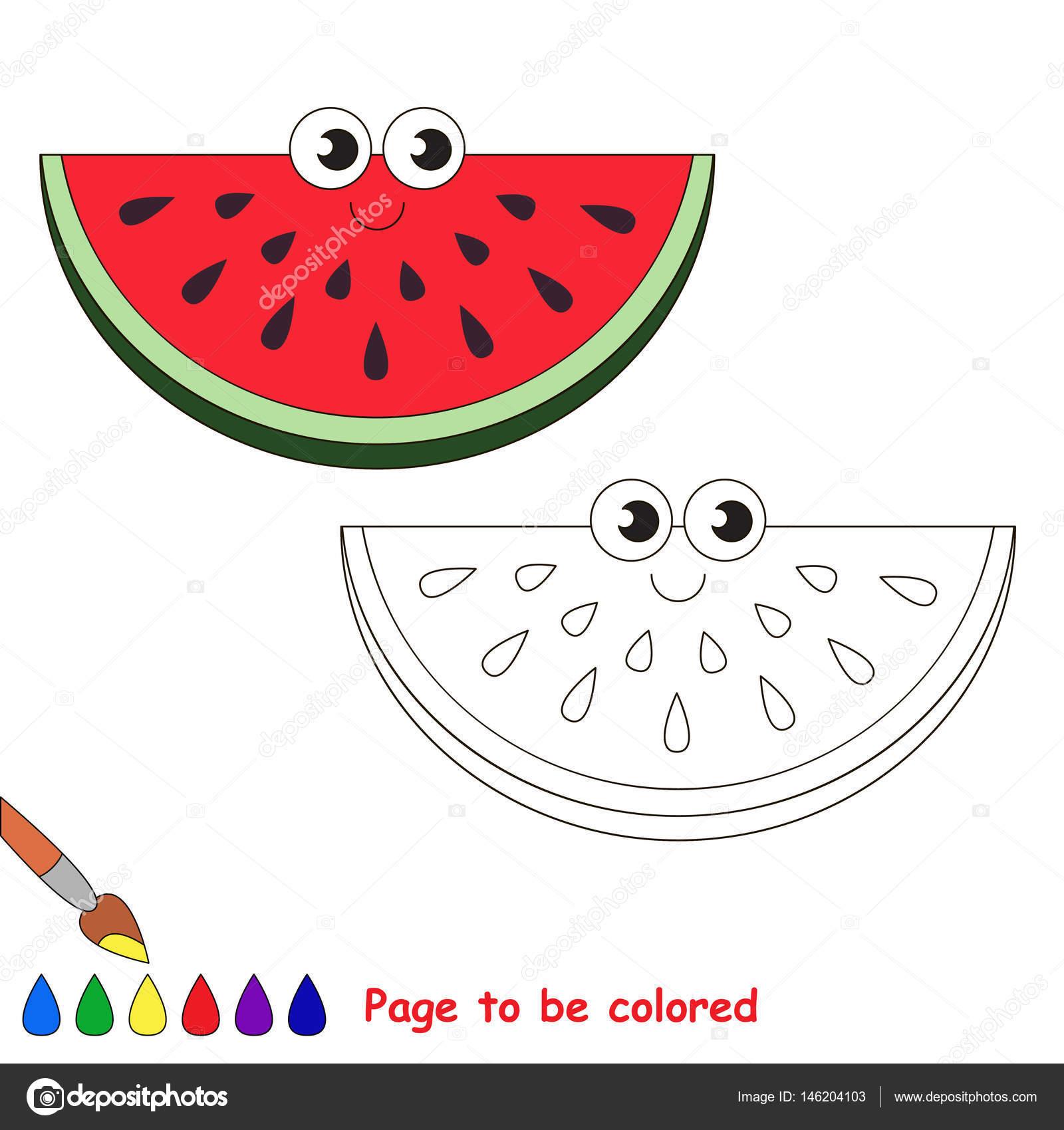 Fumetto Di Fetta Di Anguria Pagina Da Colorare Vettoriali Stock