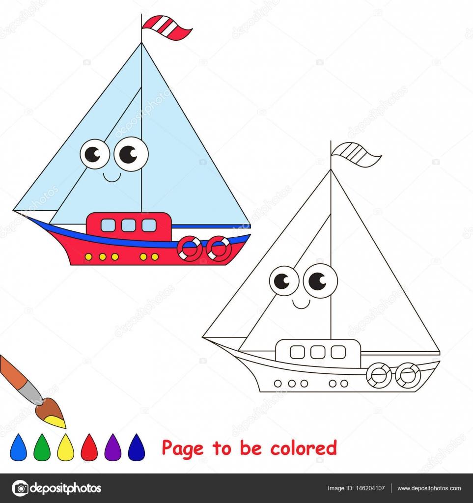 Dibujos animados de barcos. Página para colorear — Vector de stock ...