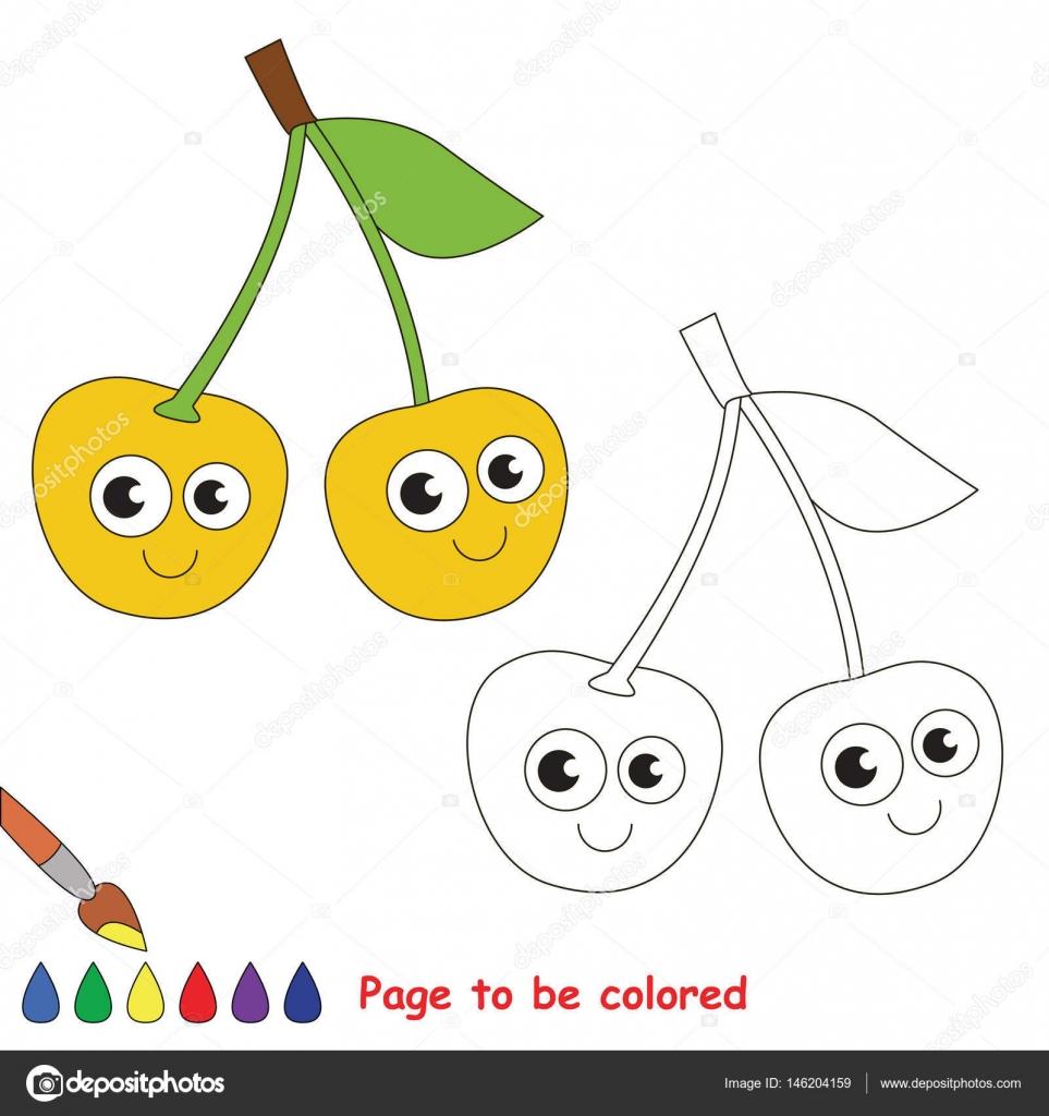 Sarı Kiraz Karikatür Renkli Sayfa Stok Vektör Annamikhailova