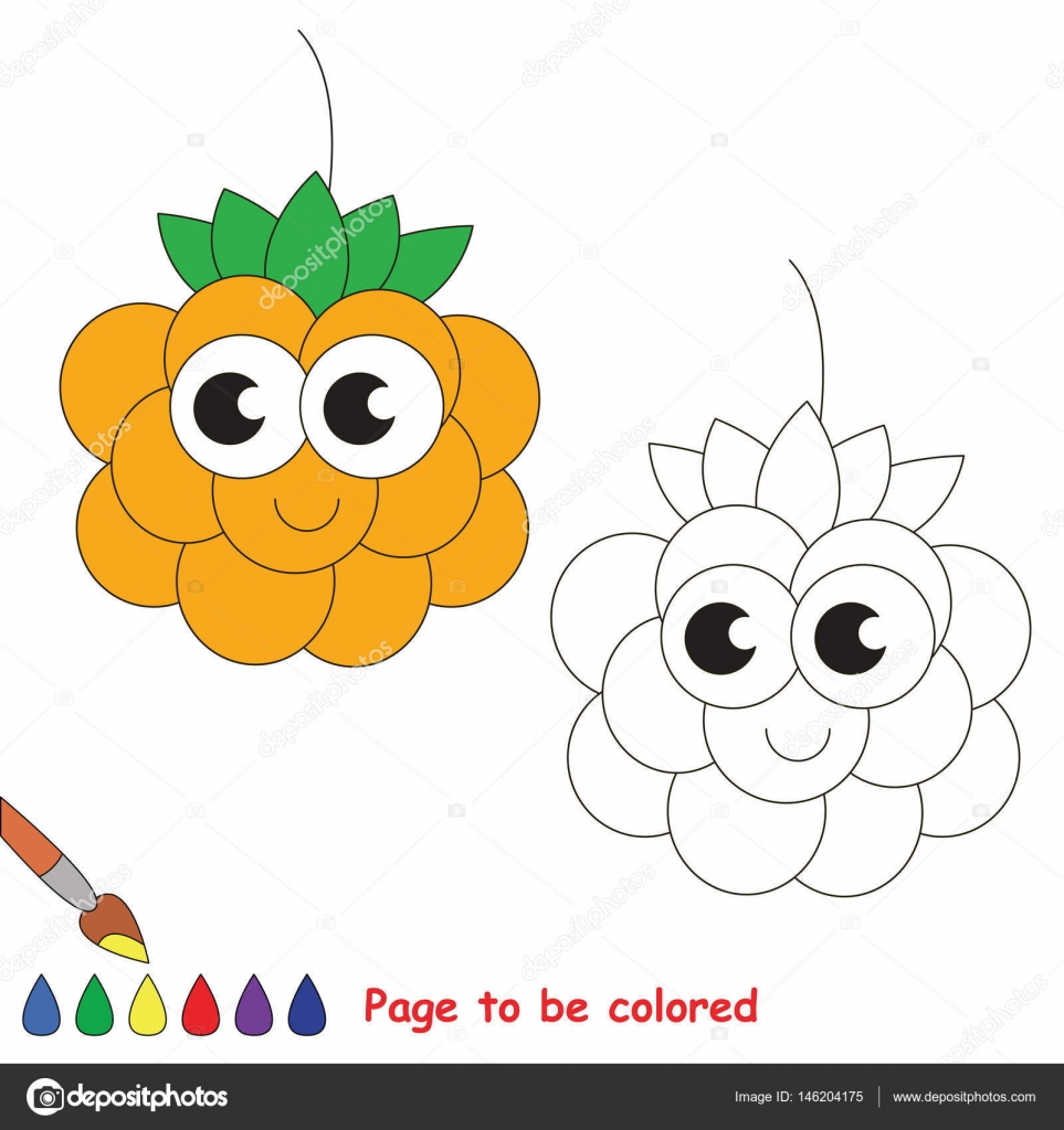 Dibujos animados de zarzamora. Página para colorear — Vector de ...