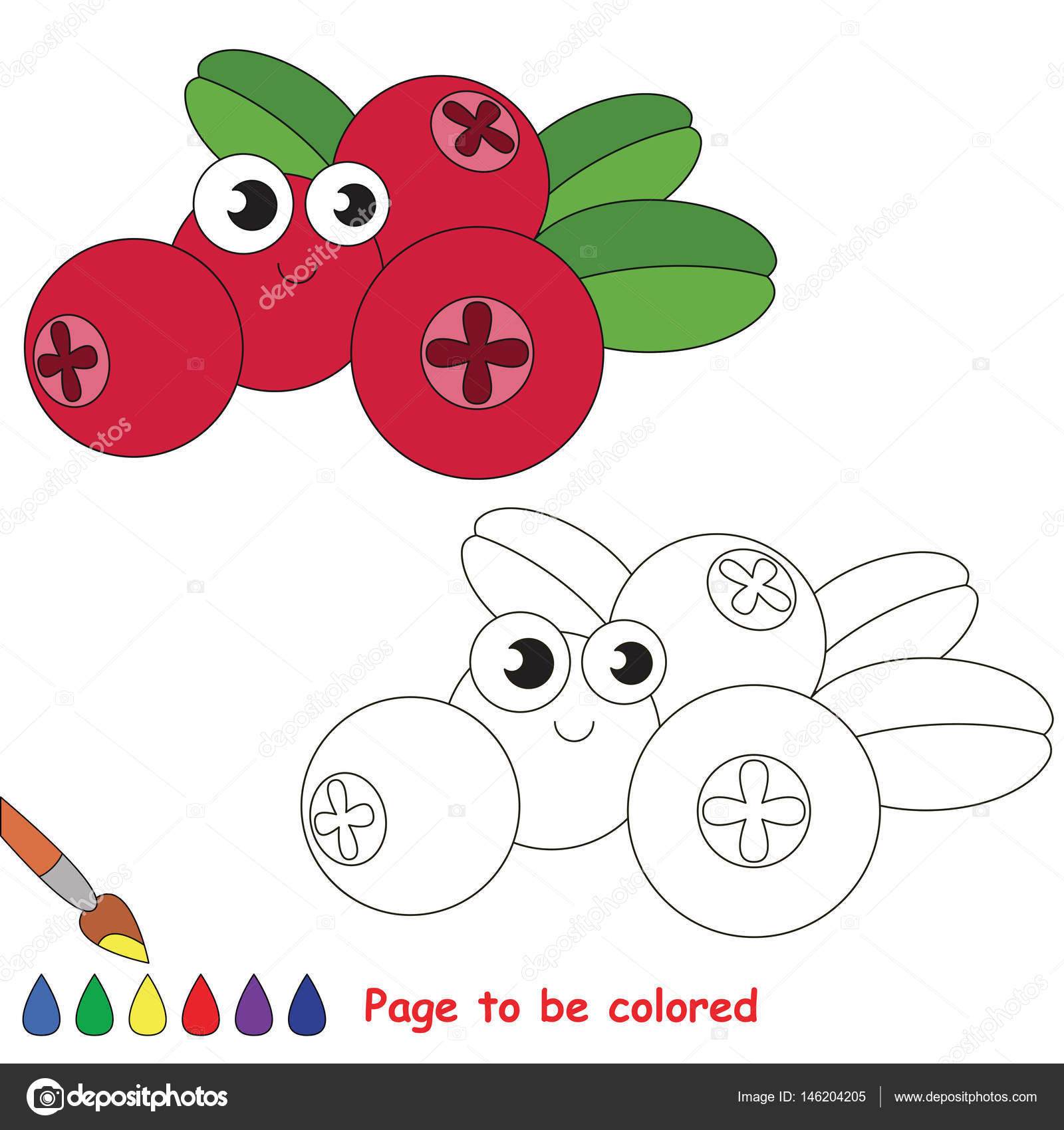 Funny Cowberry Cartoon Page To Be Colored Stock Vector