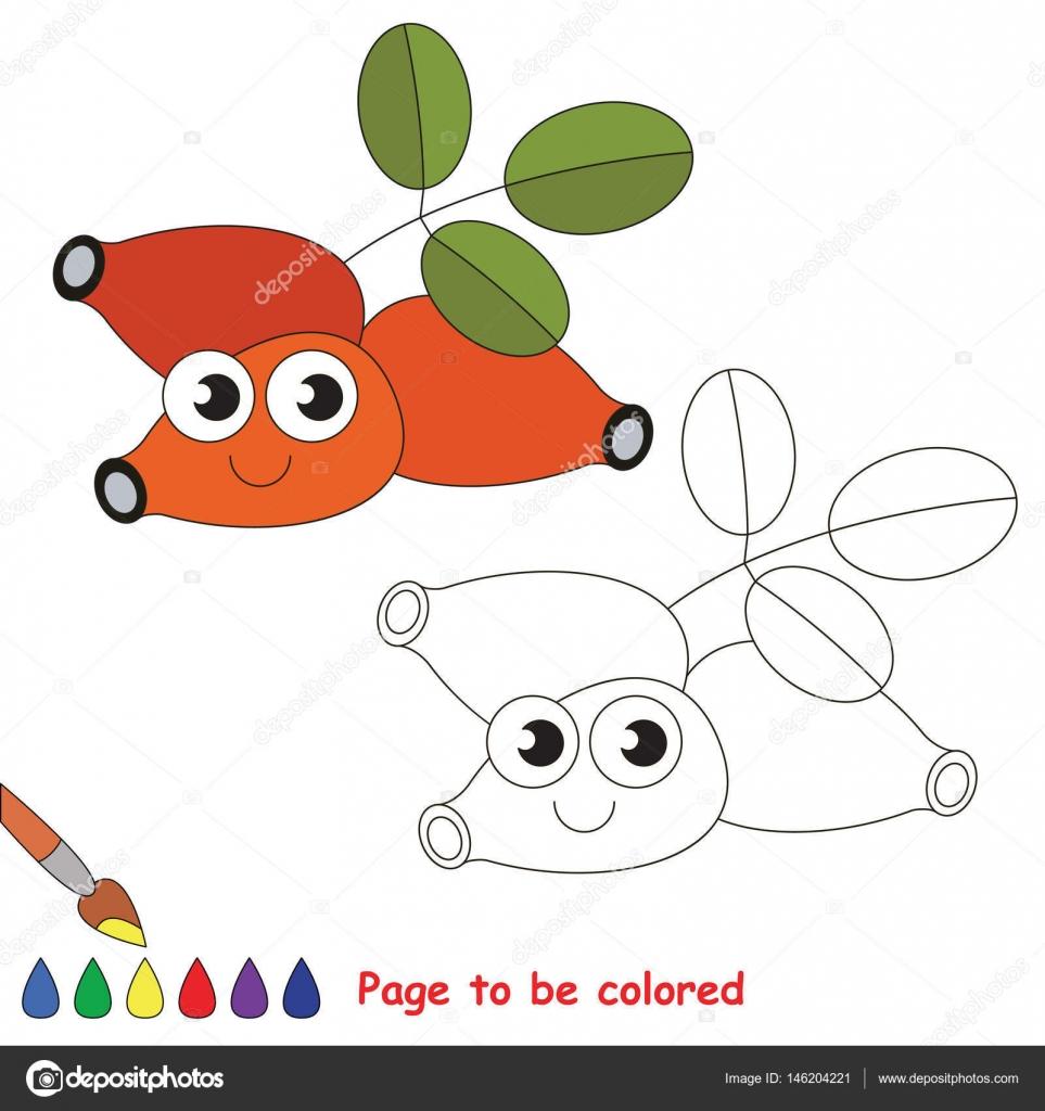 Dogrose divertidos dibujos animados. Página para colorear — Archivo ...