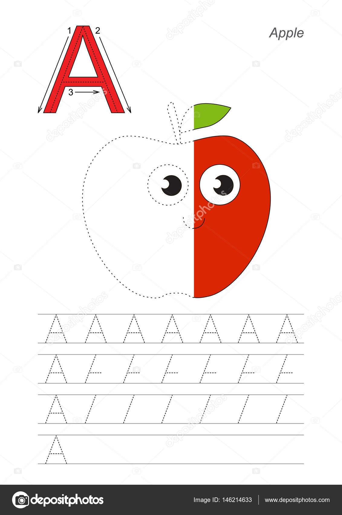 Juego para letra apple A. divertido medio rastro — Archivo Imágenes ...
