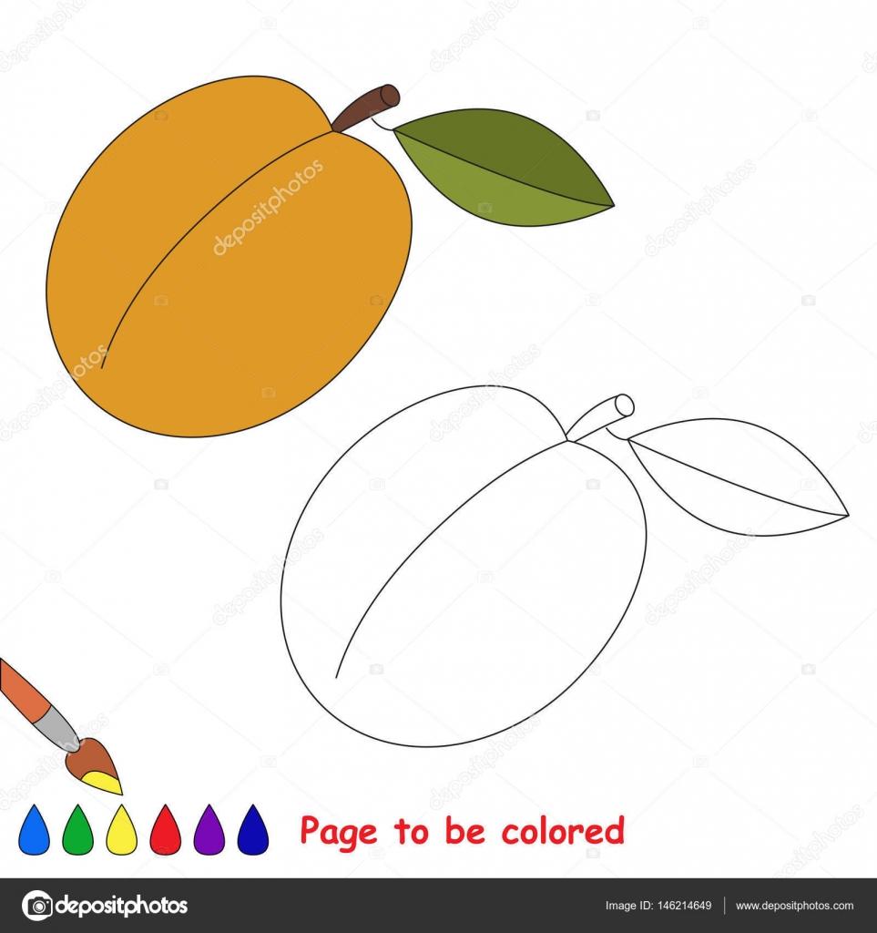 Dibujos animados de albaricoque. Página para colorear — Archivo ...