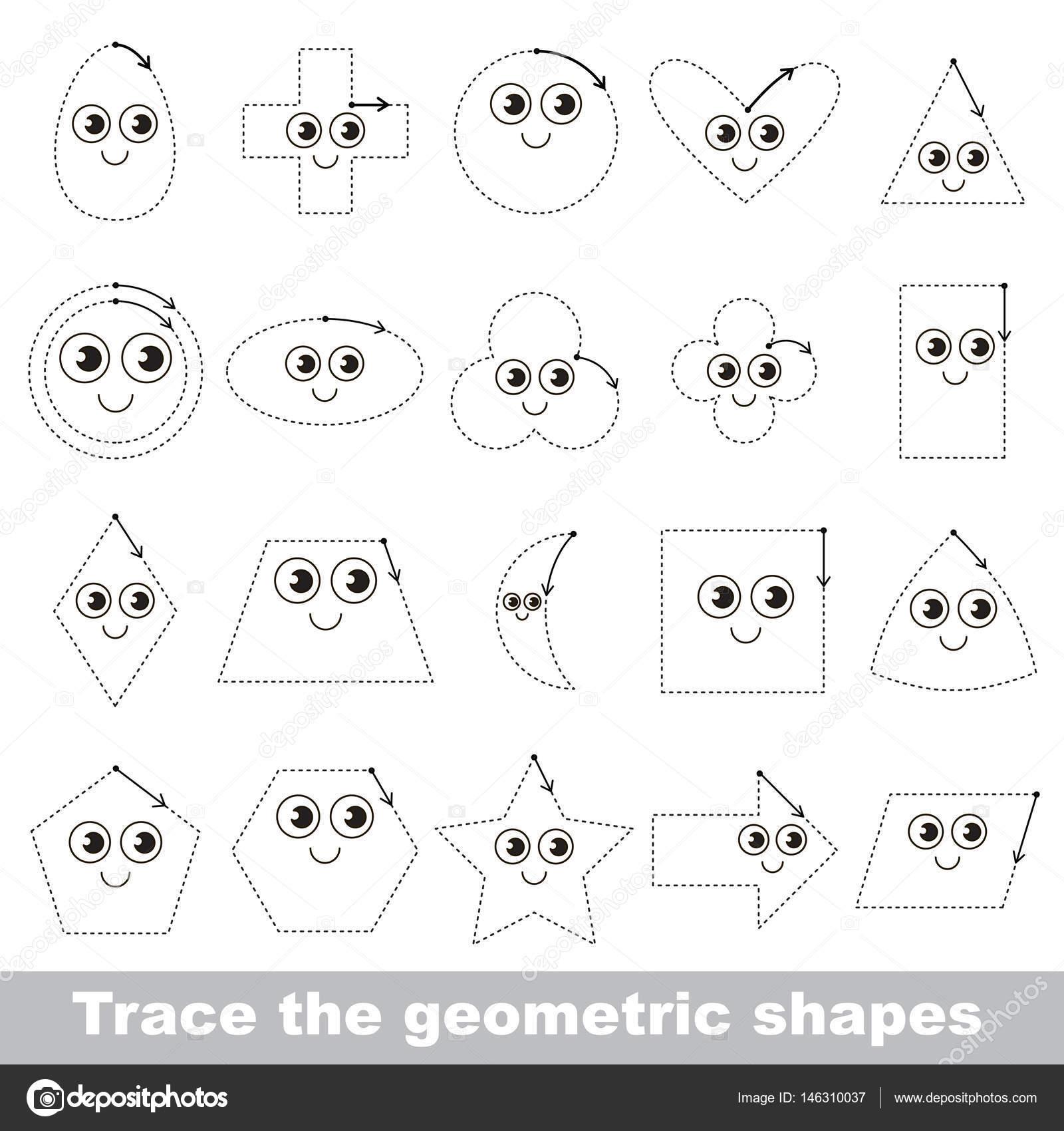 Tracing Tutorial für Kinder zu geometrische Formen lernen ...