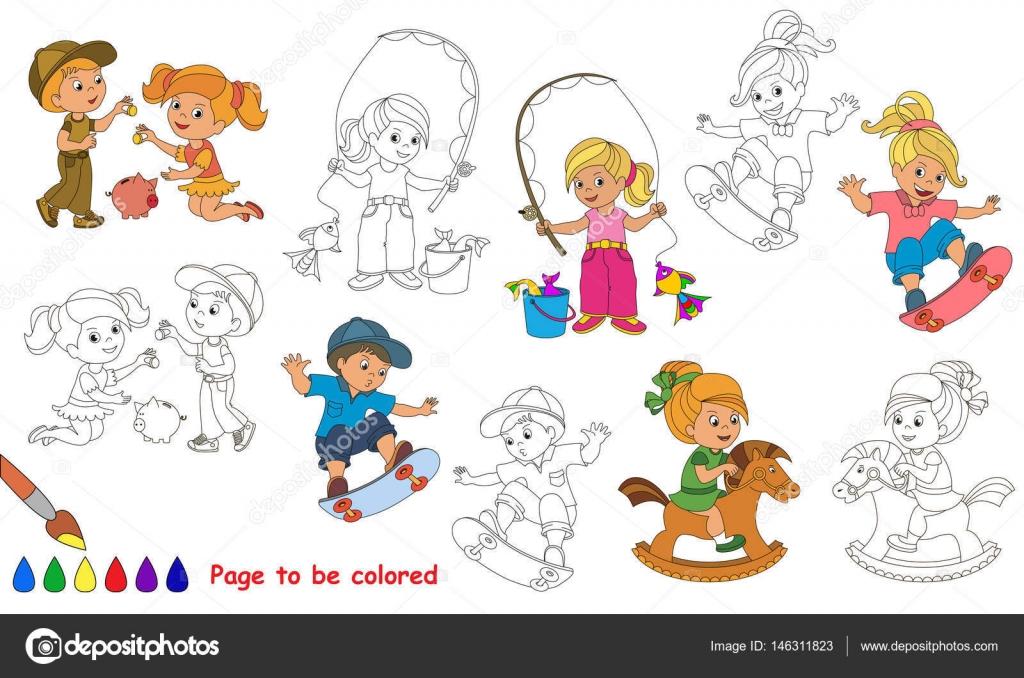 Juegos de verano Kid dibujos animados. Página para colorear — Vector ...