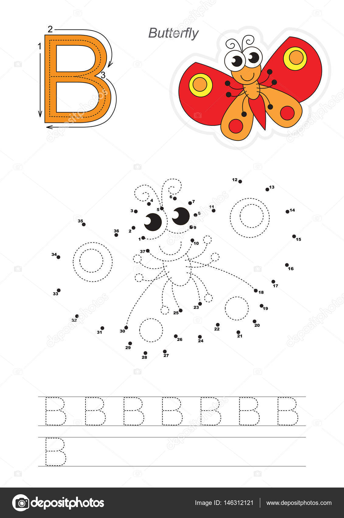 Spiel mit Zahlen für Buchstaben B. Butterfly — Stockvektor ...