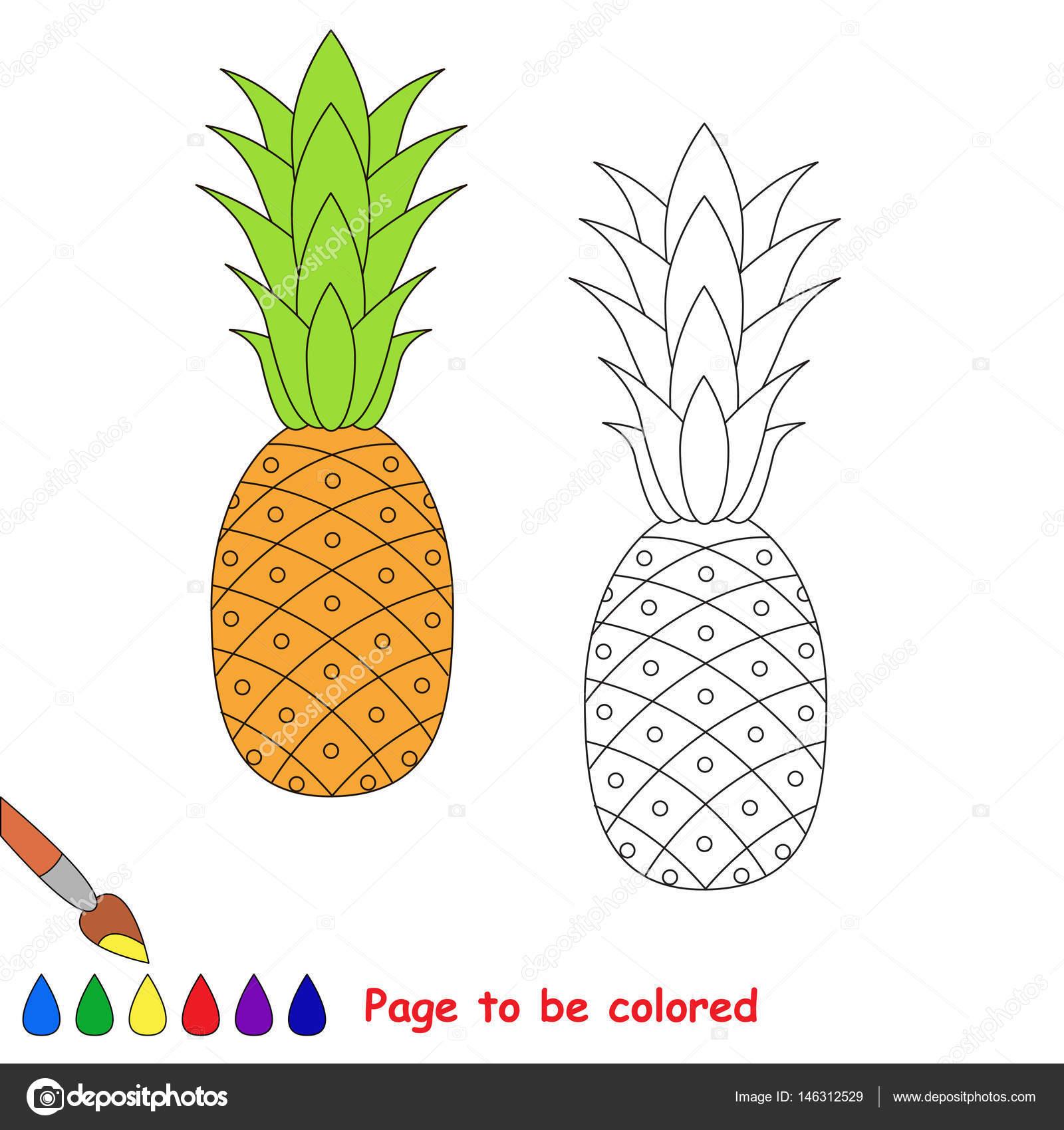 Dibujos Animados De Piña Madura Página Para Colorear Archivo
