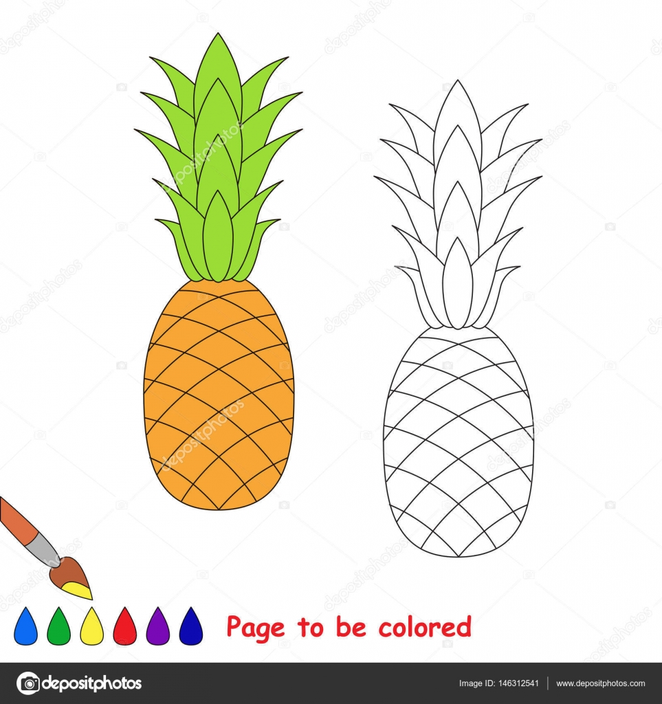 The Pineapple Cartoon Page To Be Colored Stock Vector