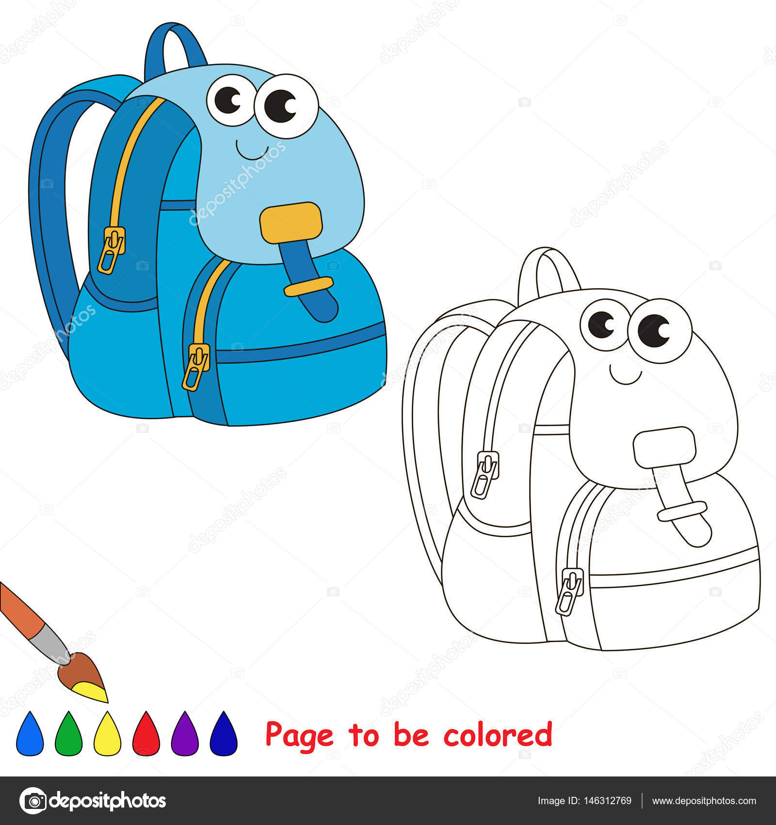 Okul öğeleri Karikatür Renkli Sayfa Stok Vektör Annamikhailova