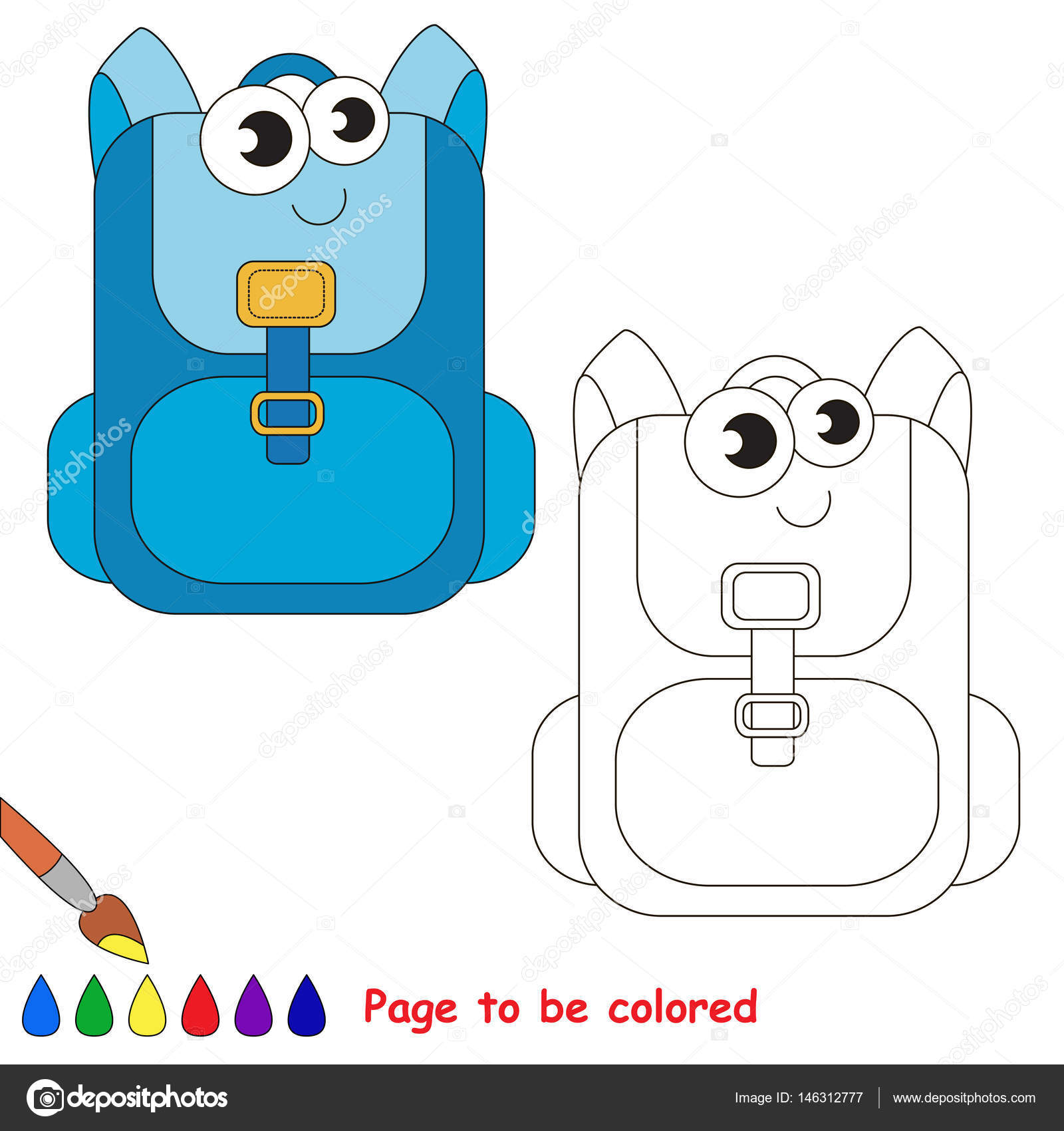School items cartoon. Page to be colored. — Stock Vector ...