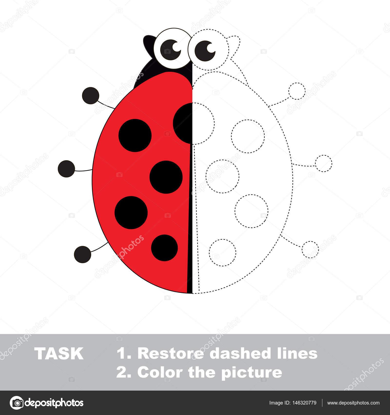 Coccinella Da Colorare Vettore Gioco Di Traccia Vettoriali Stock