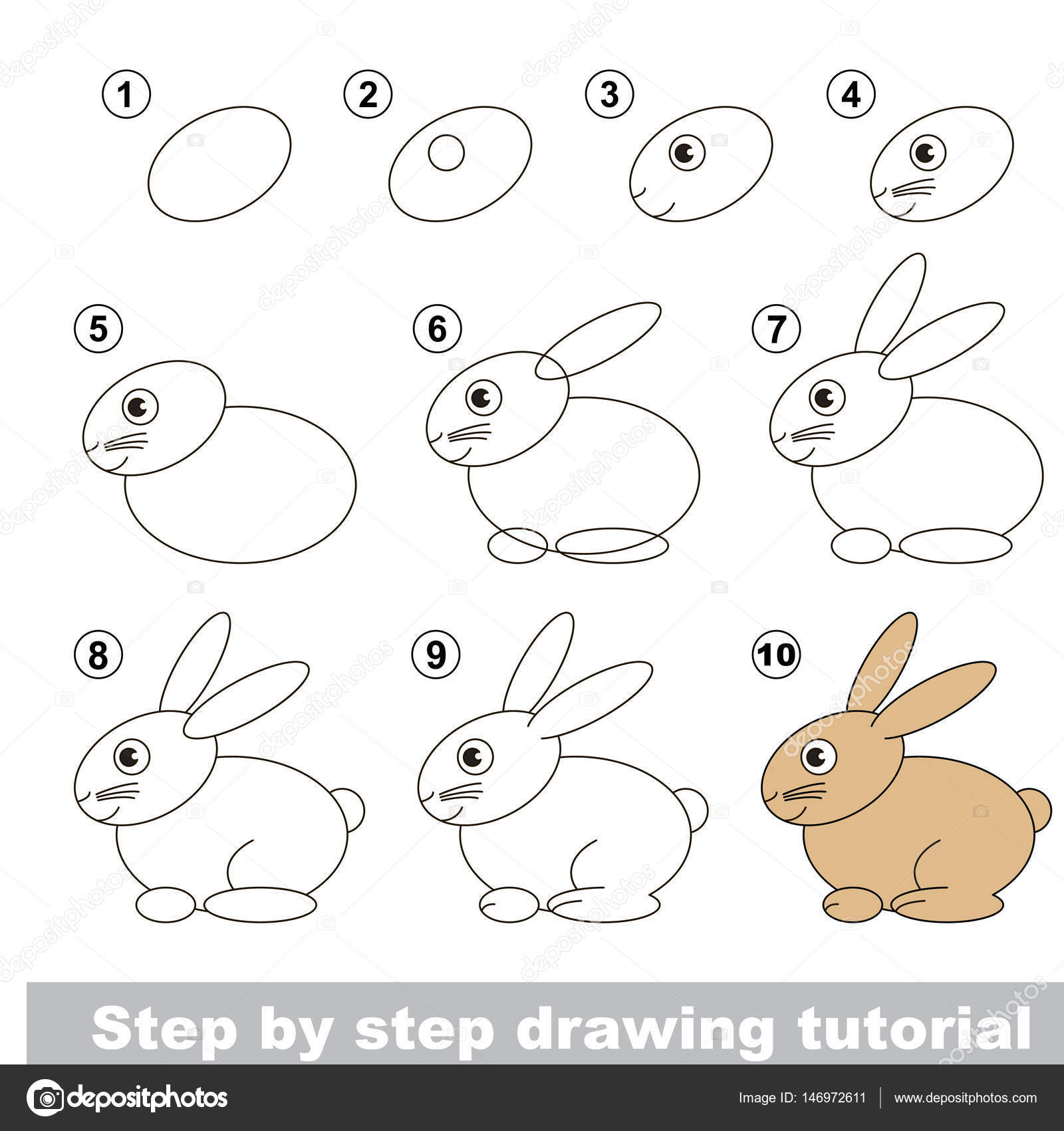 Vector kid educational game to develop drawing skill with easy game level preschool kids education funny drawing school drawing tutorial for rabbit