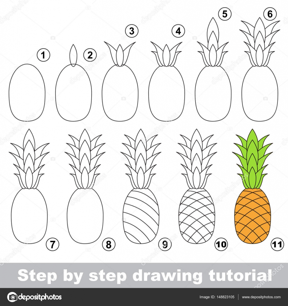Drawing Tutorial Ripe Pineapple Stock Vector C Anna Mikhailova