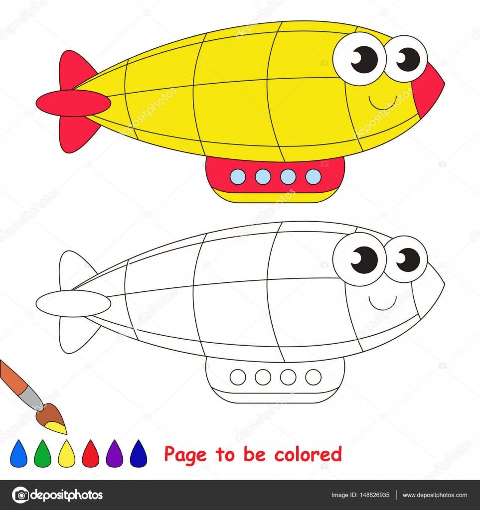 Dibujos animados de zeppelin amarillo. Página para colorear ...