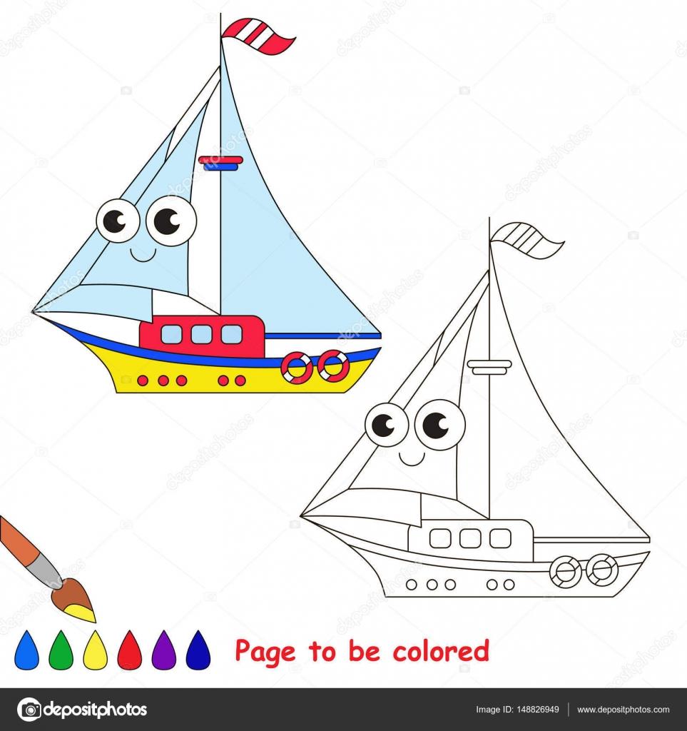 Dibujos animados de yates amarillo. Página para colorear — Vector de ...
