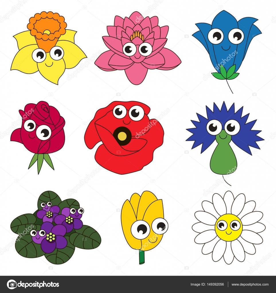 Blume-Set, die Sammlung der Färbung Buch Vorlage, die Gruppe der ...
