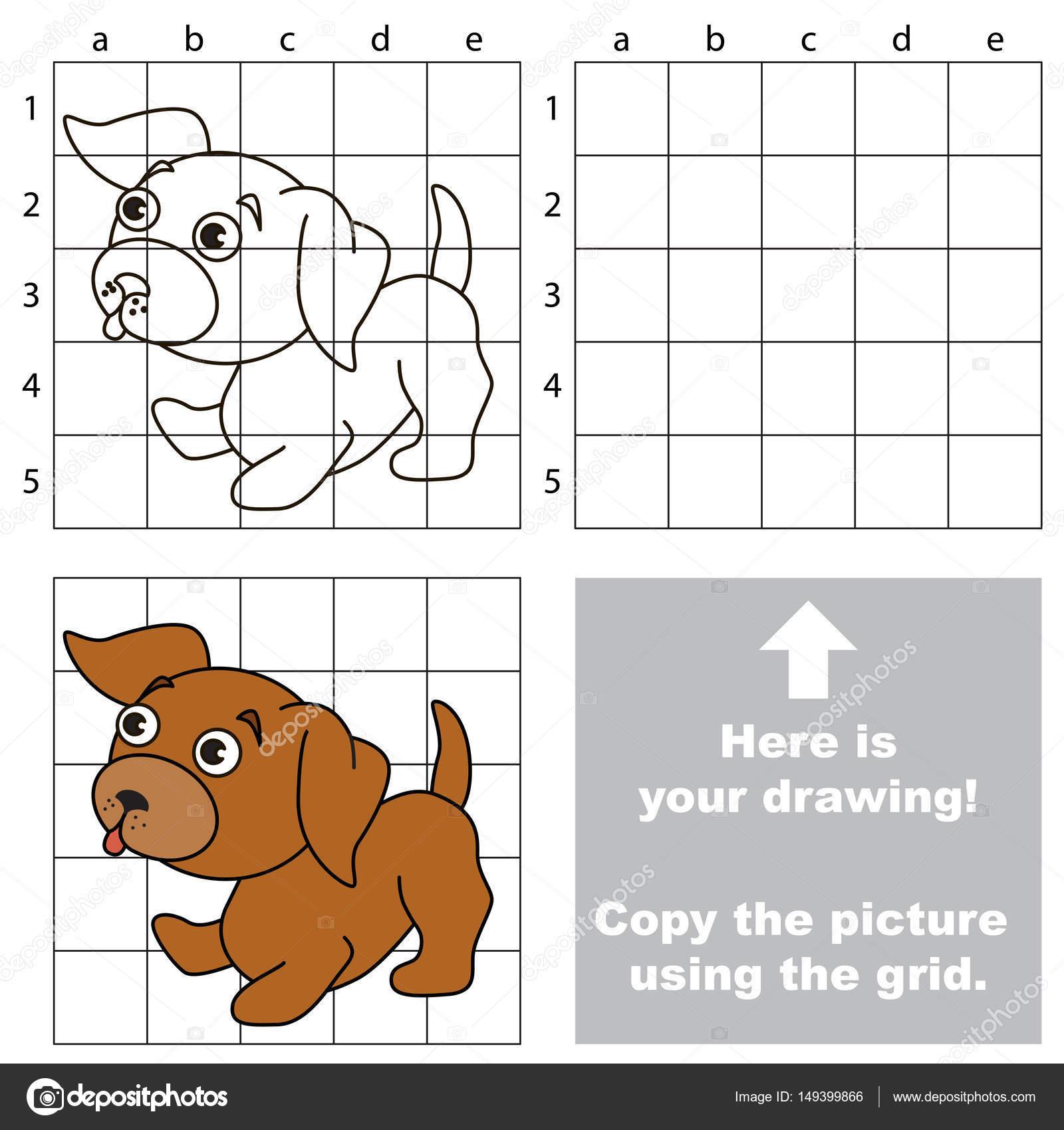Kopieren Sie das Bild mit Raster, das einfache pädagogische Kind ...