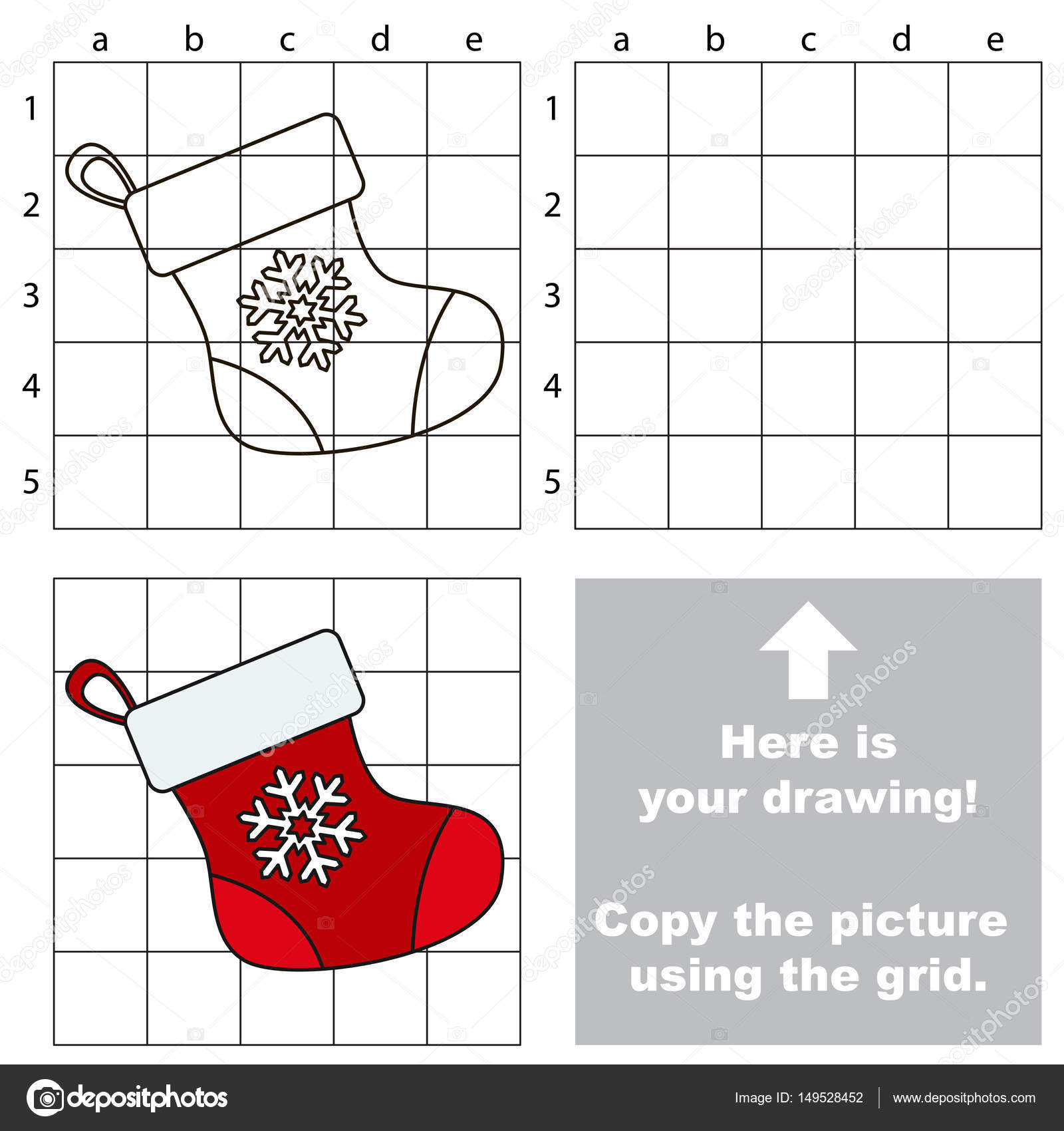 Christmas Stocking Drawing Easy.Copy The Image Using Grid The Simple Educational Kid Game