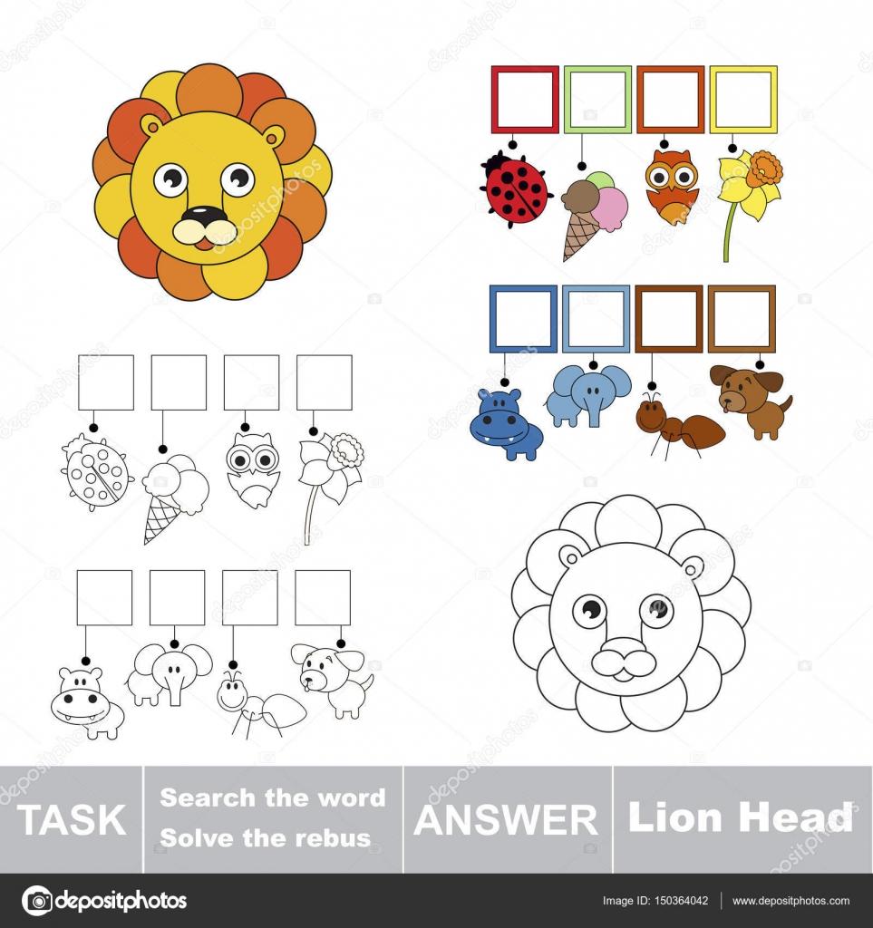 Suchen Sie das verborgene Wort, das einfache pädagogische Kind Spiel ...