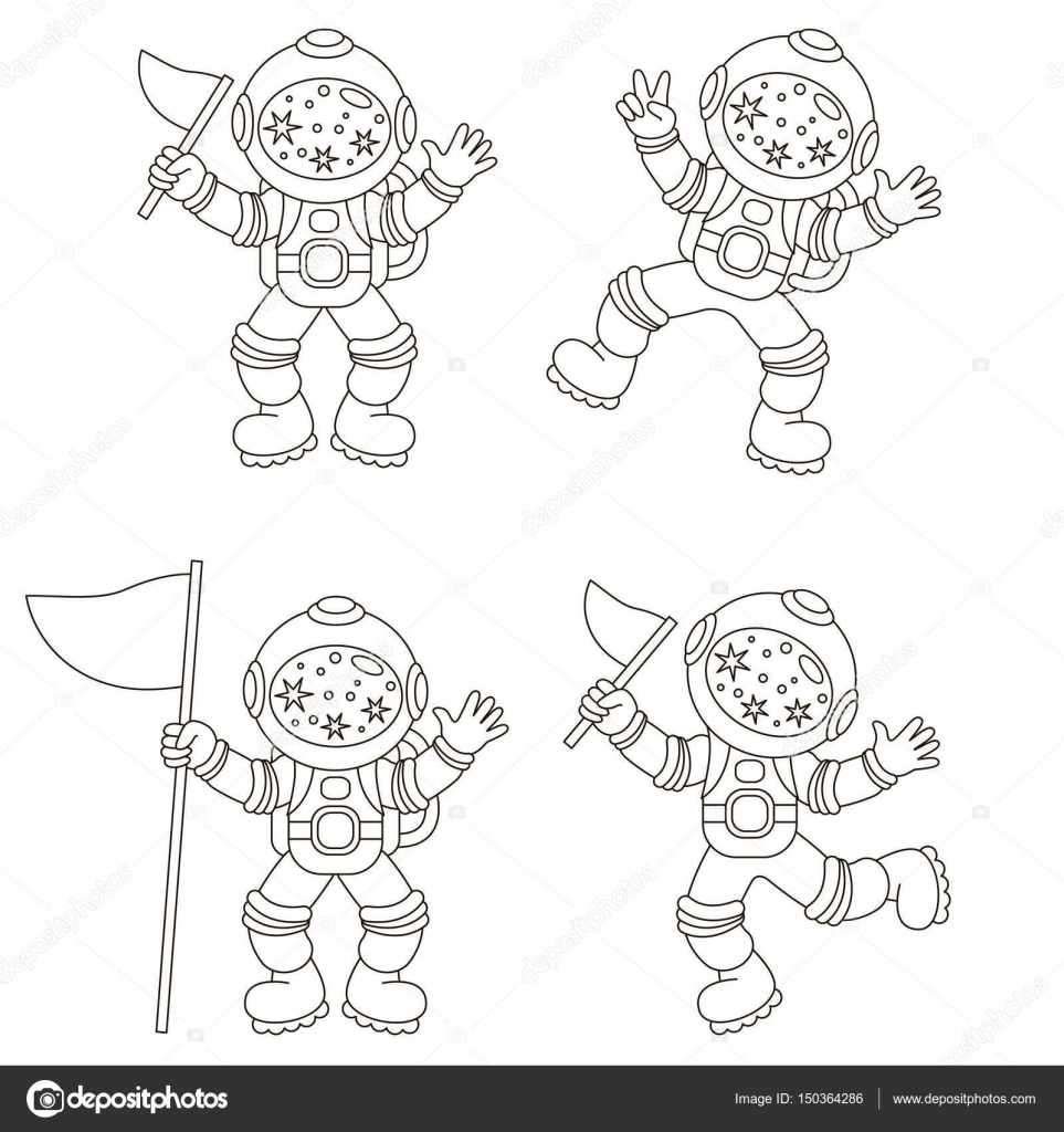 Astronaut Set The Collection Of Coloring Book Template The Group