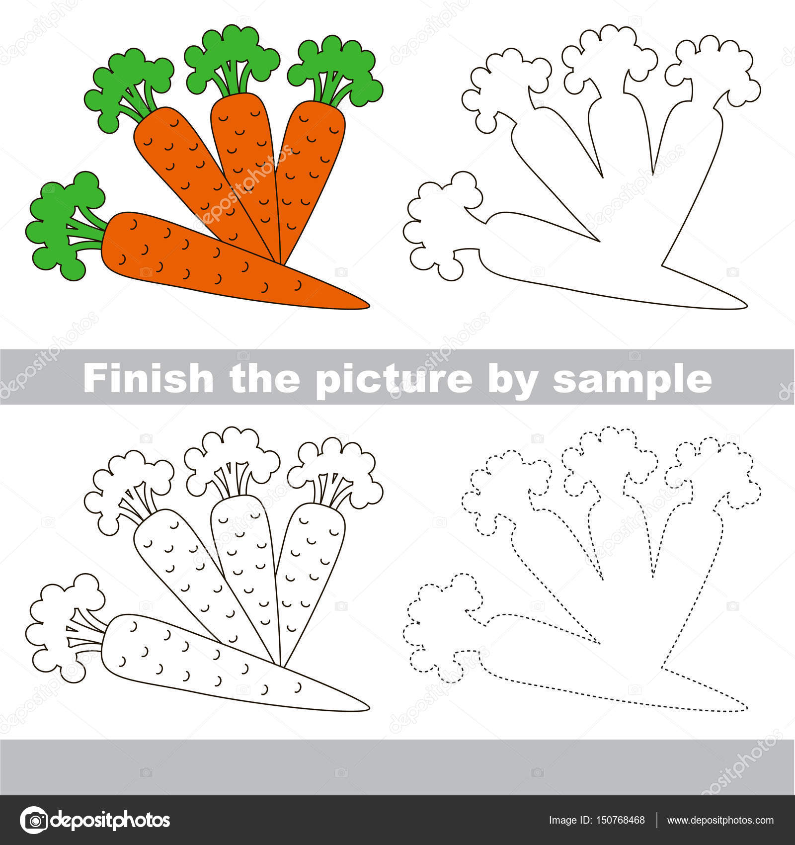 Kid Drawing Worksheet To Complete Picture By Sample Stock Vector