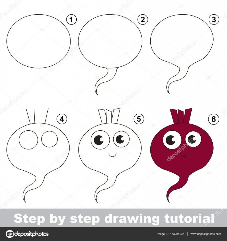 Tutorial de dibujo para niños en edad preescolar — Vector de stock ...