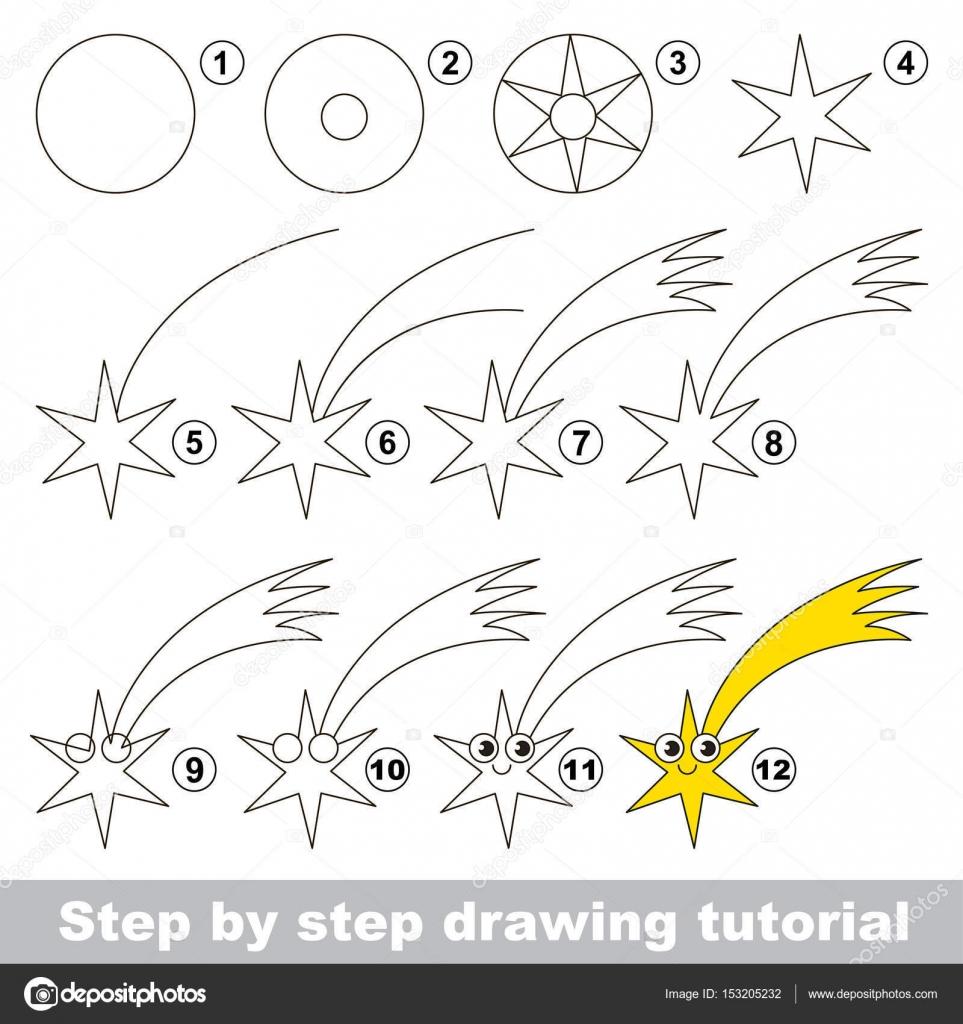 Drawing Tutorial For Preschool Children Stock Vector
