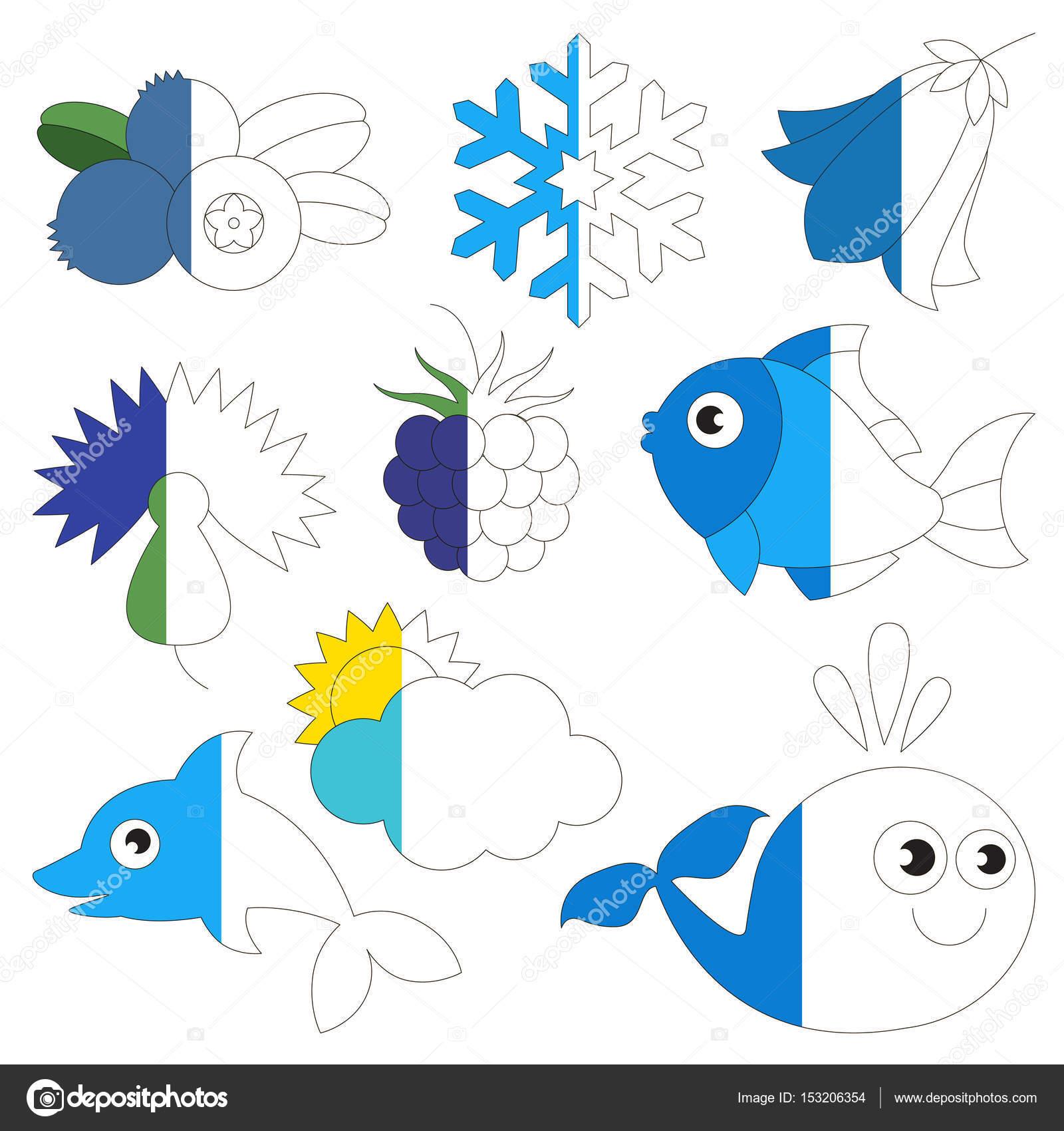 Objetos de Color azul, el juego de niños grandes a ser coloreado por ...