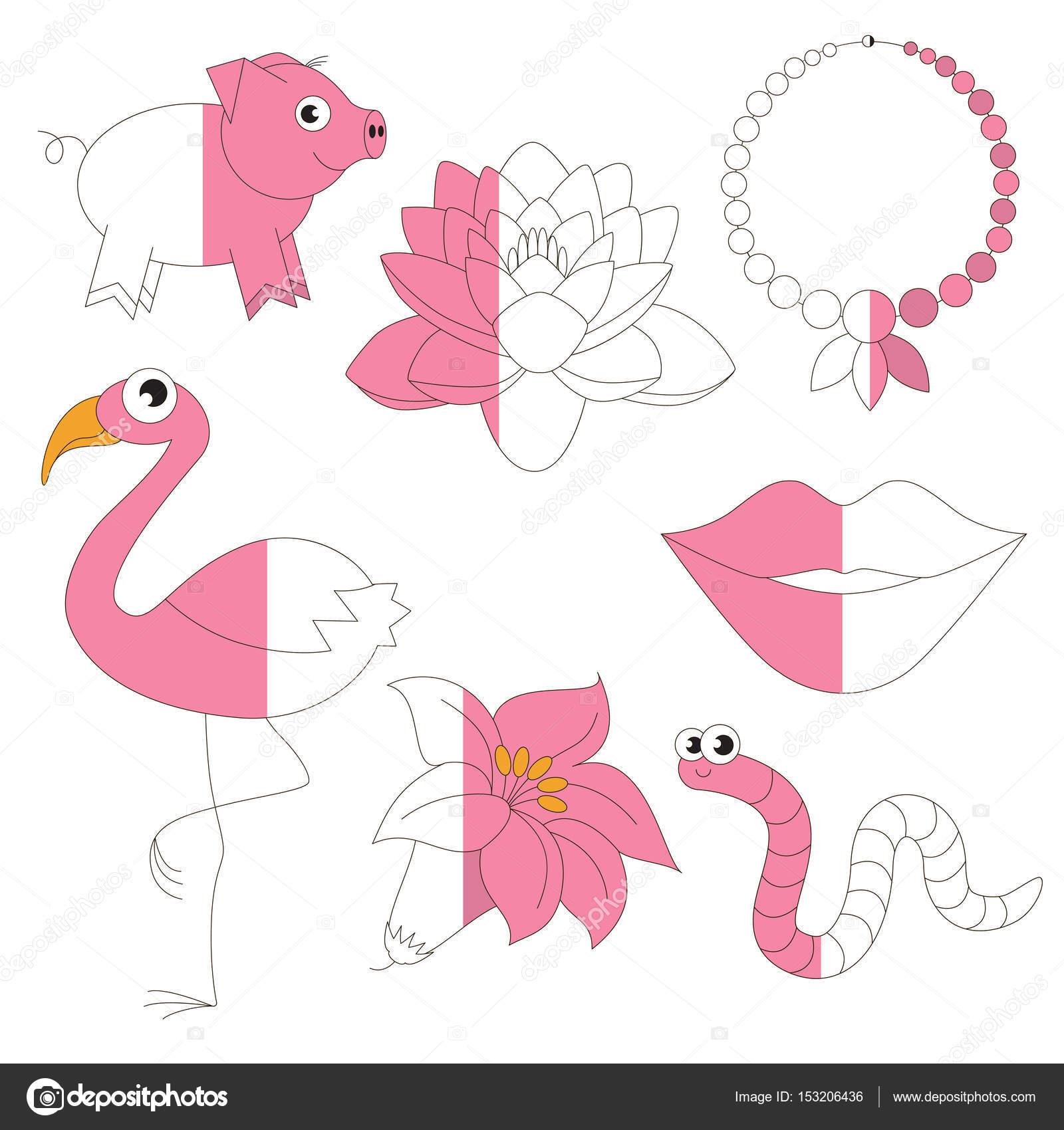 Objetos de Color rosa, el juego de niños grandes a ser coloreado por ...