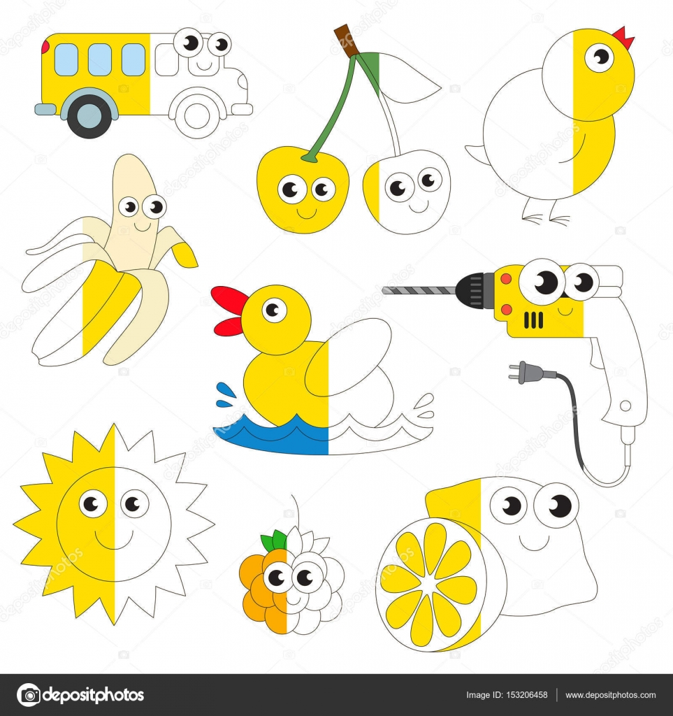 Dibujos Objetos De Color Amarillo Para Colorear Divertidas