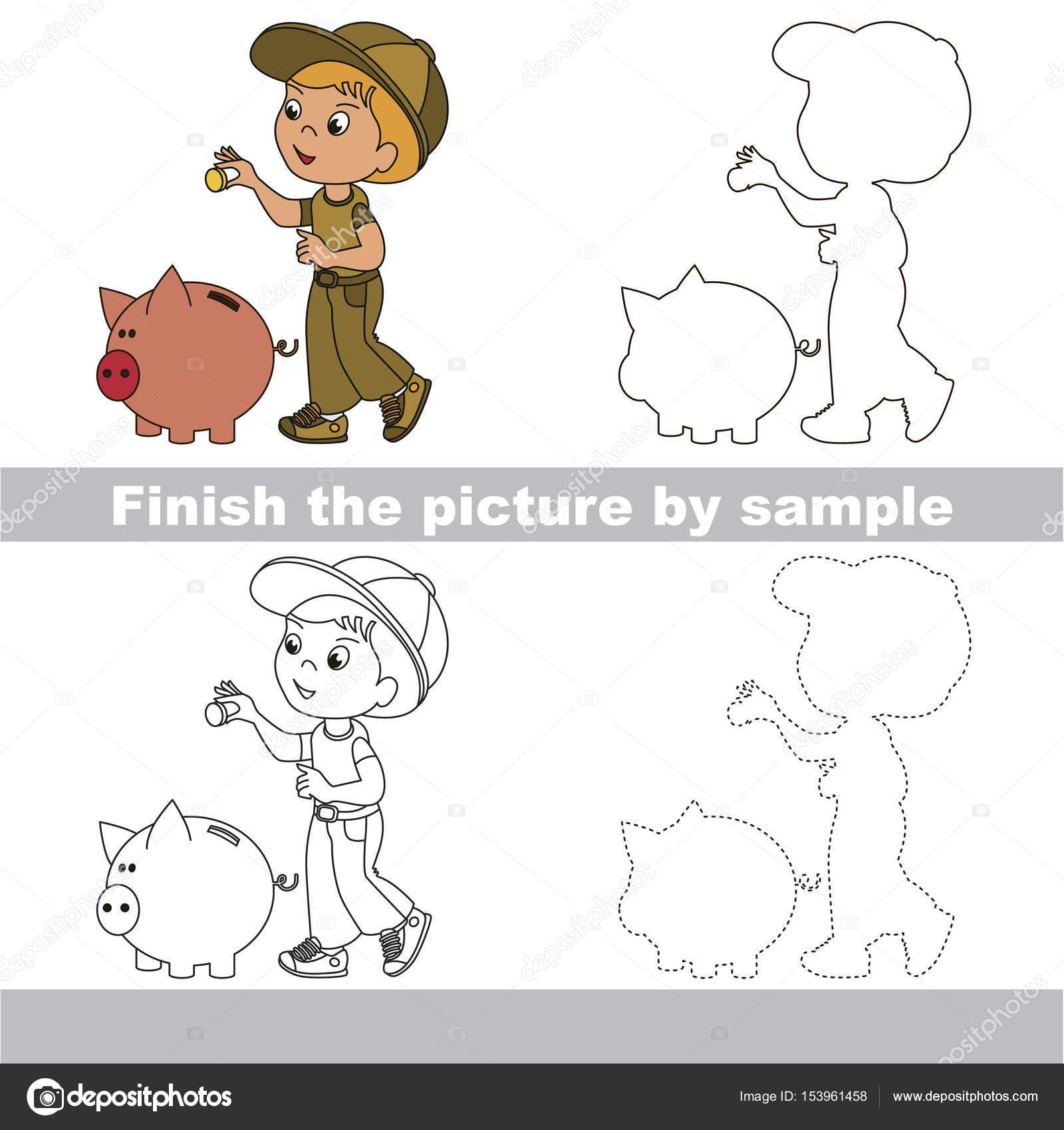 çalışma Sayfası Tarafından örnek Için Tam Bir Resim çizim çocuk