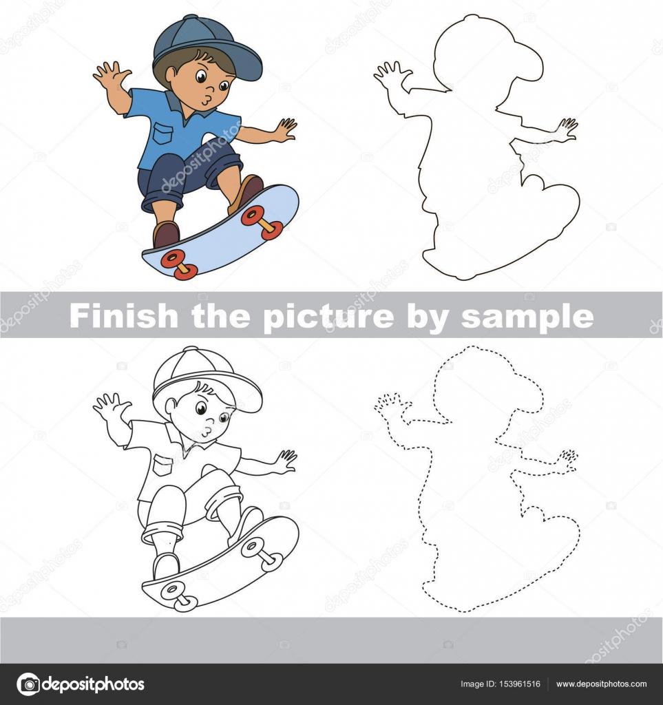 Kind Zeichnung Arbeitsblatt, vollständiges Bild von Probe ...