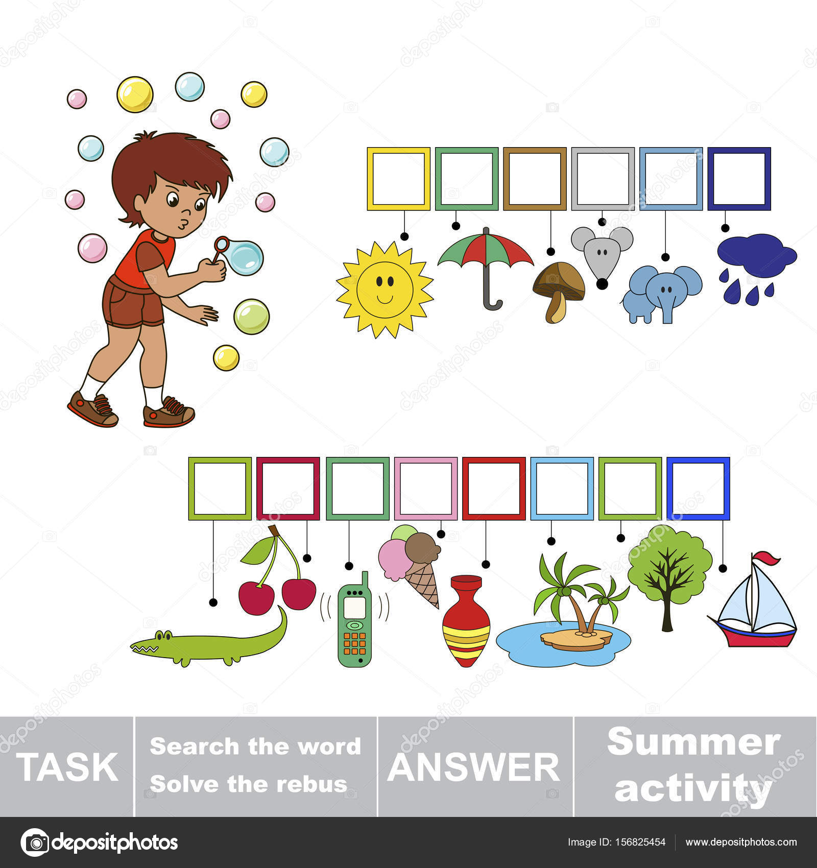 Educational Puzzle Game Kids Find Hidden Word Summer Activity