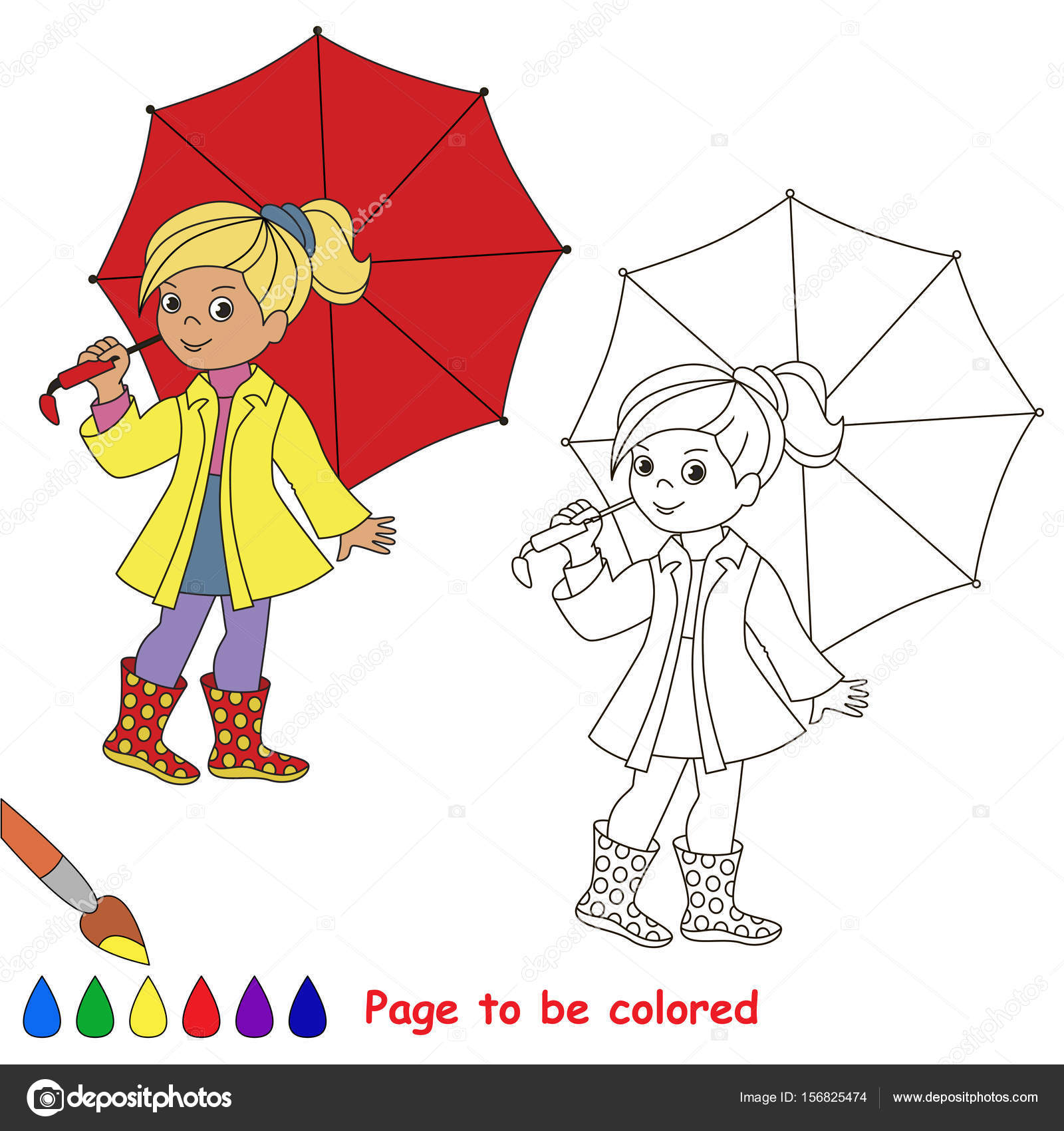 Girl With Umbrella Drawing Easy Girl Red Umbrella Colored