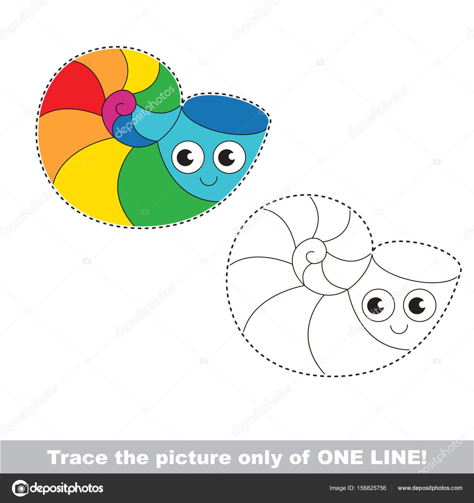 Rainbow Sea Shell Traced Only One Line Tracing Educational Game Stock Vector C Anna Mikhailova 156825756
