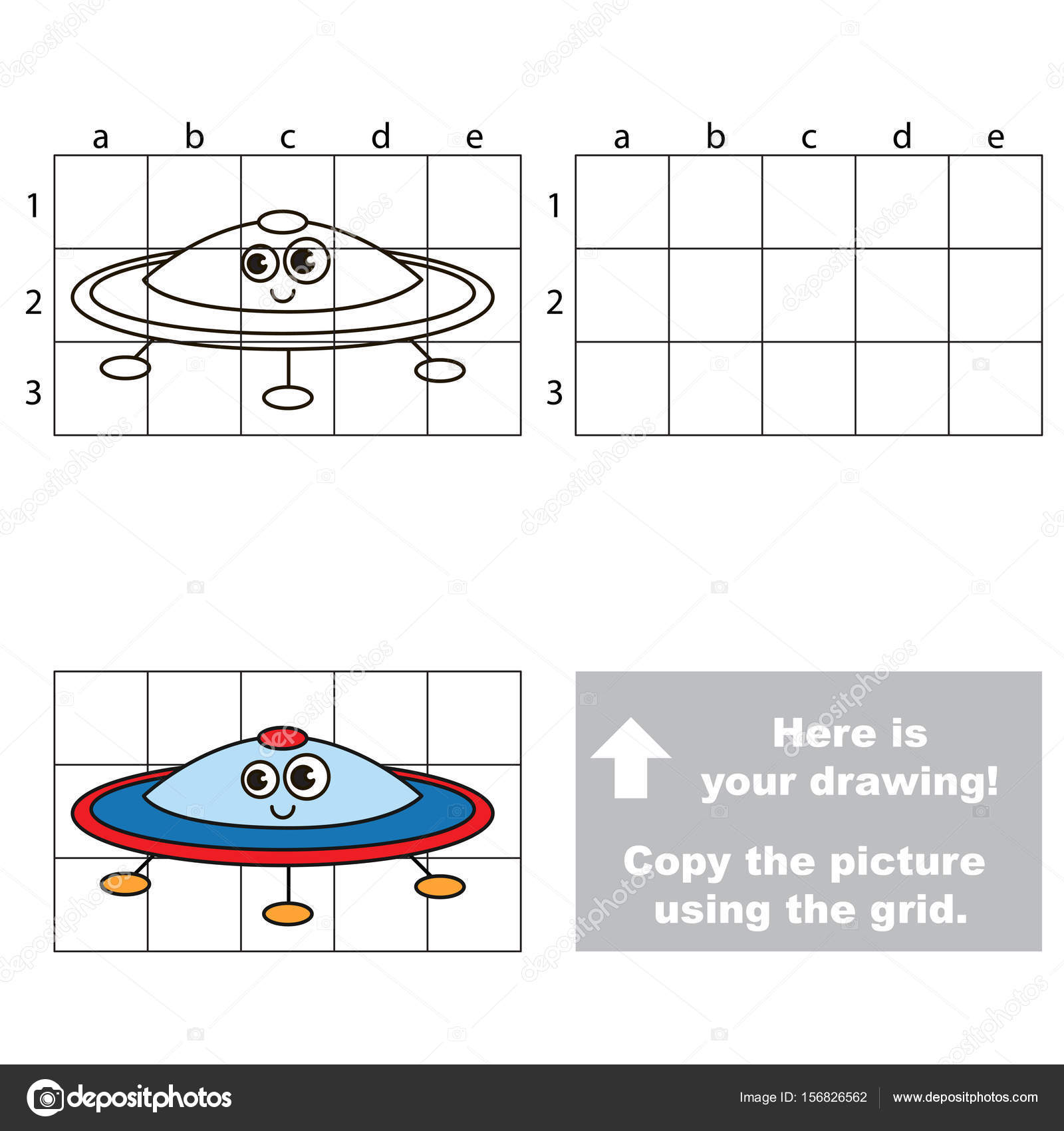 Copy Picture Using Grid Lines Simple Educational Game Preschool