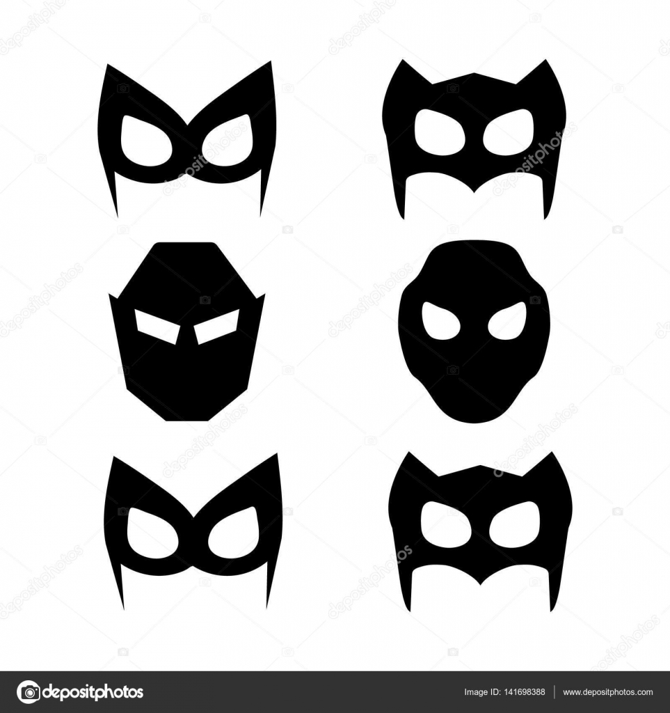 Super-Helden-Masken-Set. Superhelden-Masken für Gesicht Charakter in ...