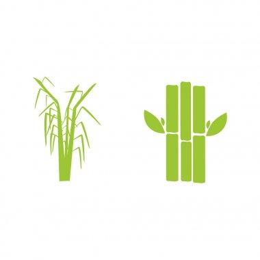 Sugar cane flat icons set illustration vector